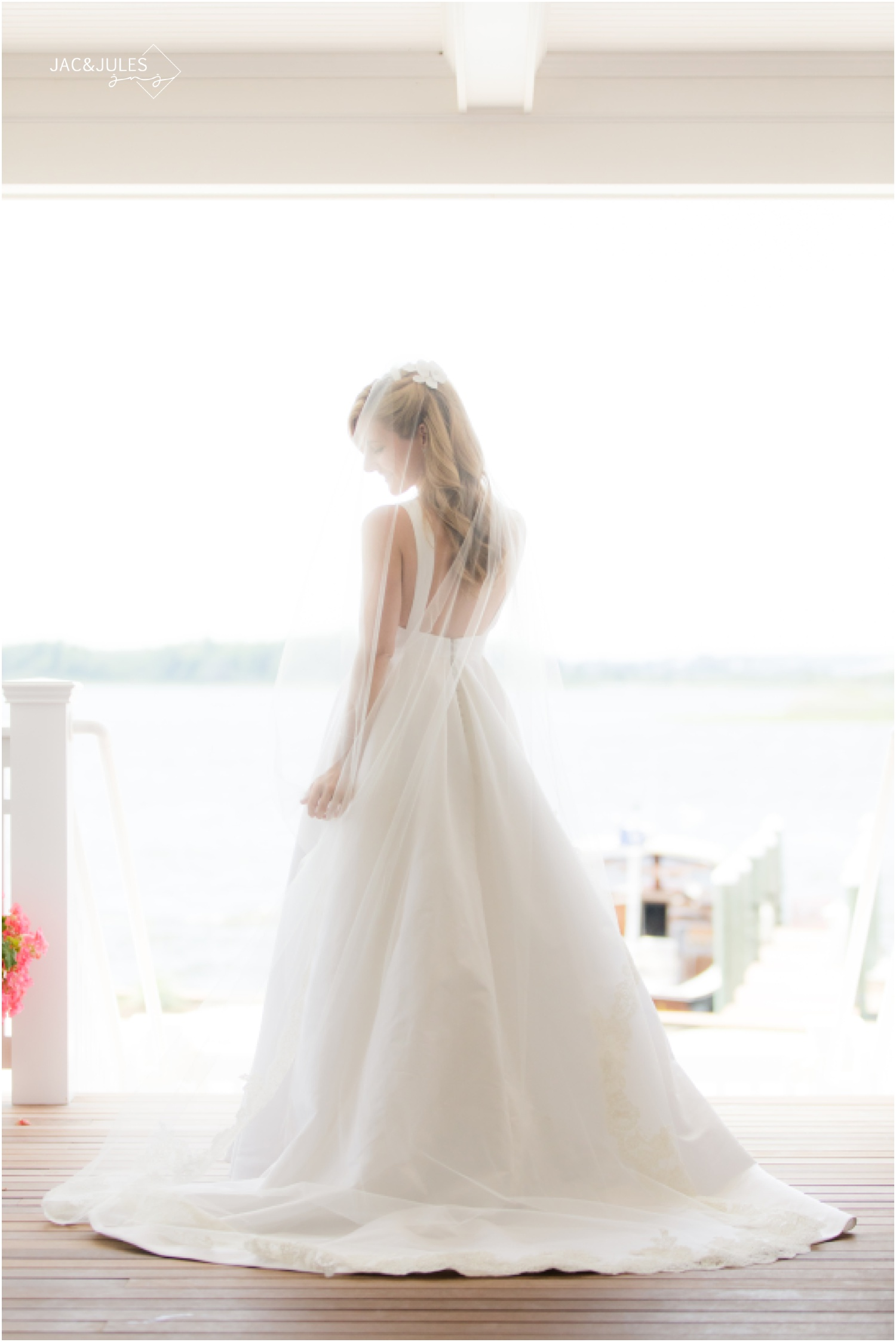 Soft and pretty bridal portrait that shows the back of the dress and veil.