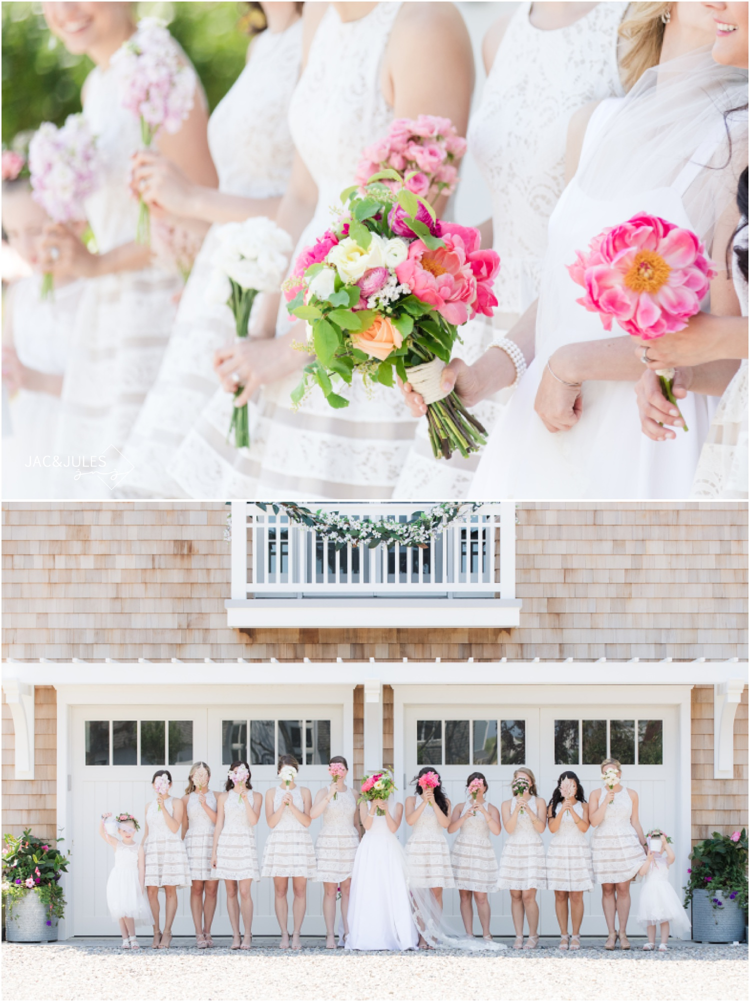 Unique bridal and brides maids bouquets and a silly bridesmaids photo outside Mantoloking, NJ home.