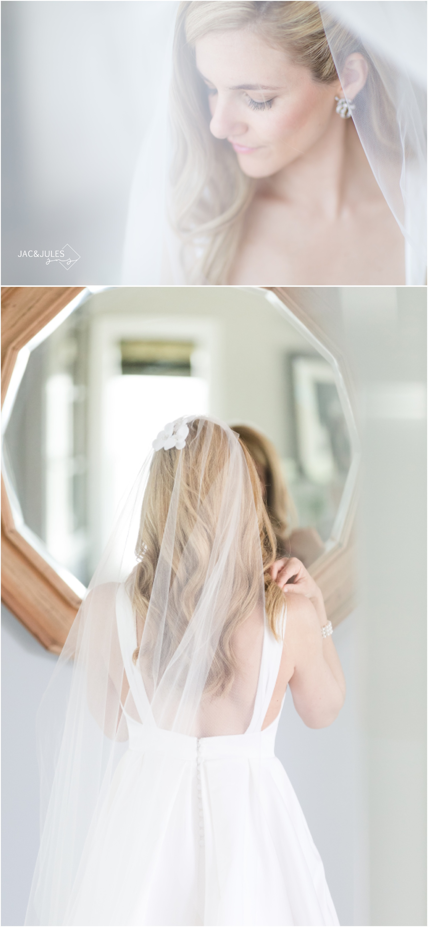 Soft and romantic bridal photos at home in Mantoloking.