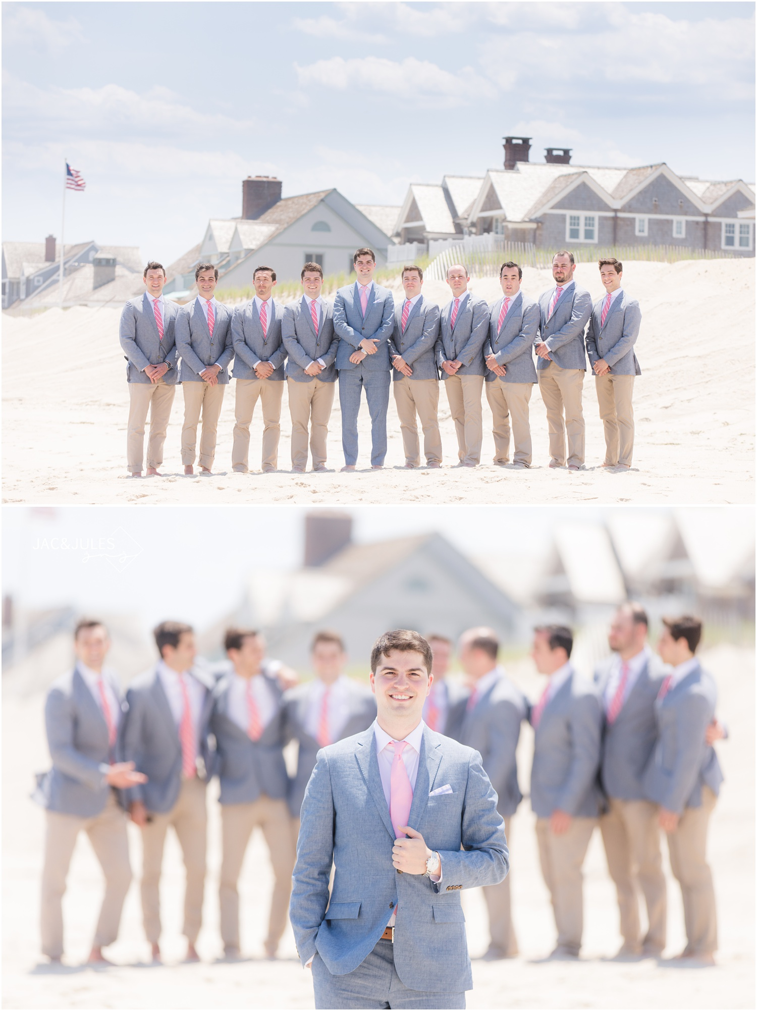 Groomsmen in Chambray suits on the beach in Mantoloking, NJ.