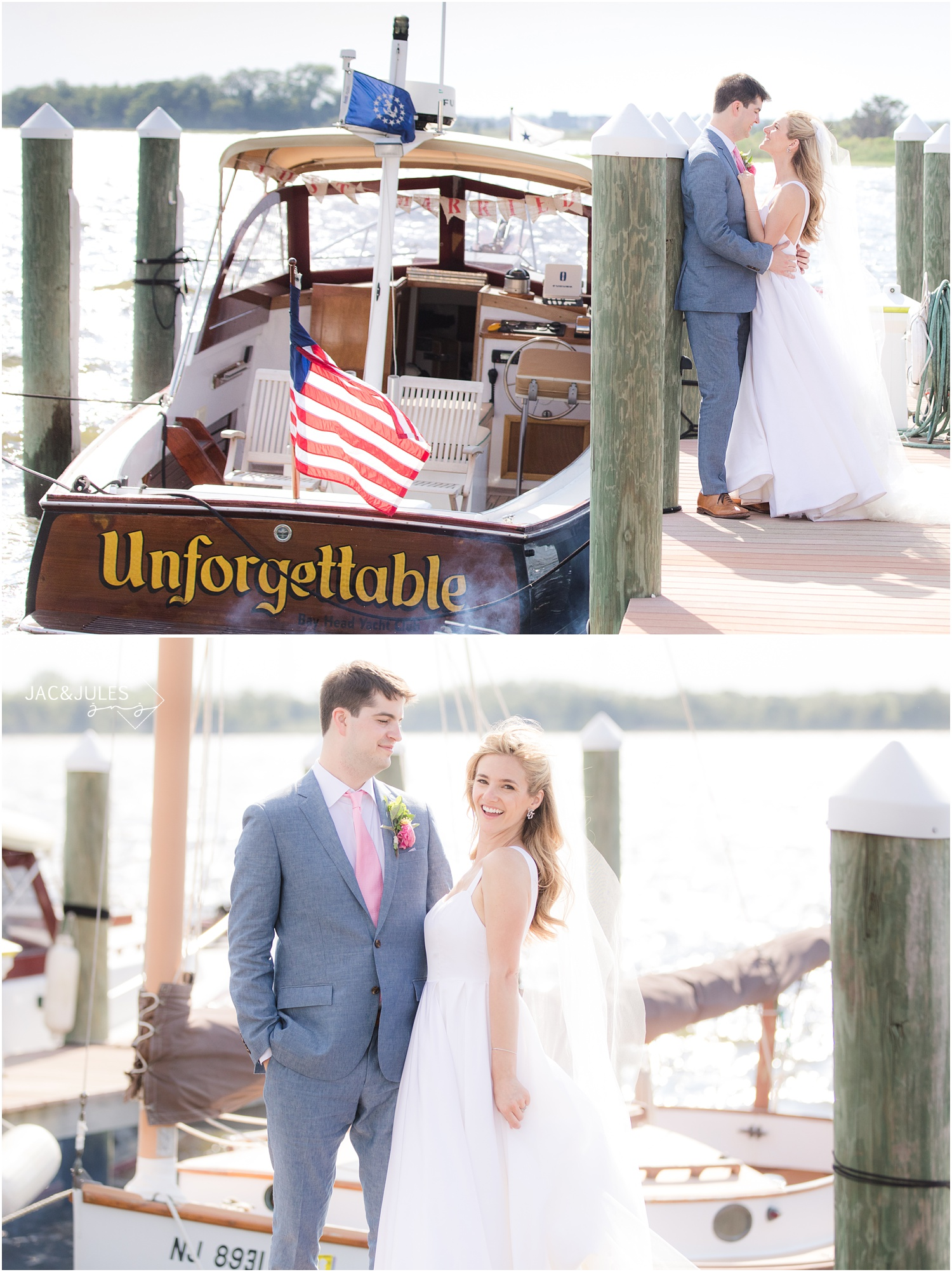 Wedding Photos of bride and groom on a dock with their boat in Mantoloking, NJ.