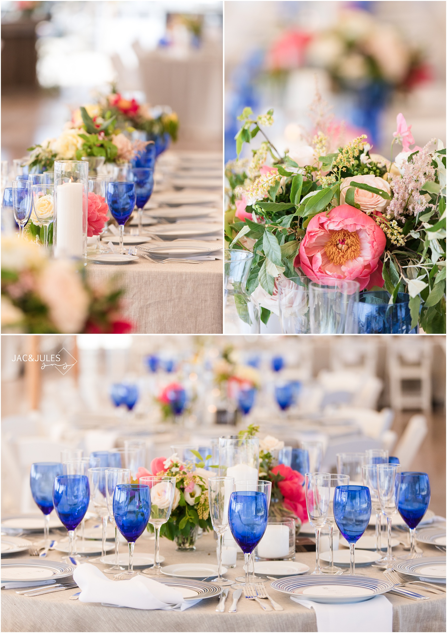Photos of tented wedding reception decor at Mantoloking Yacht Club by Faye & Renee and Social Life Events.