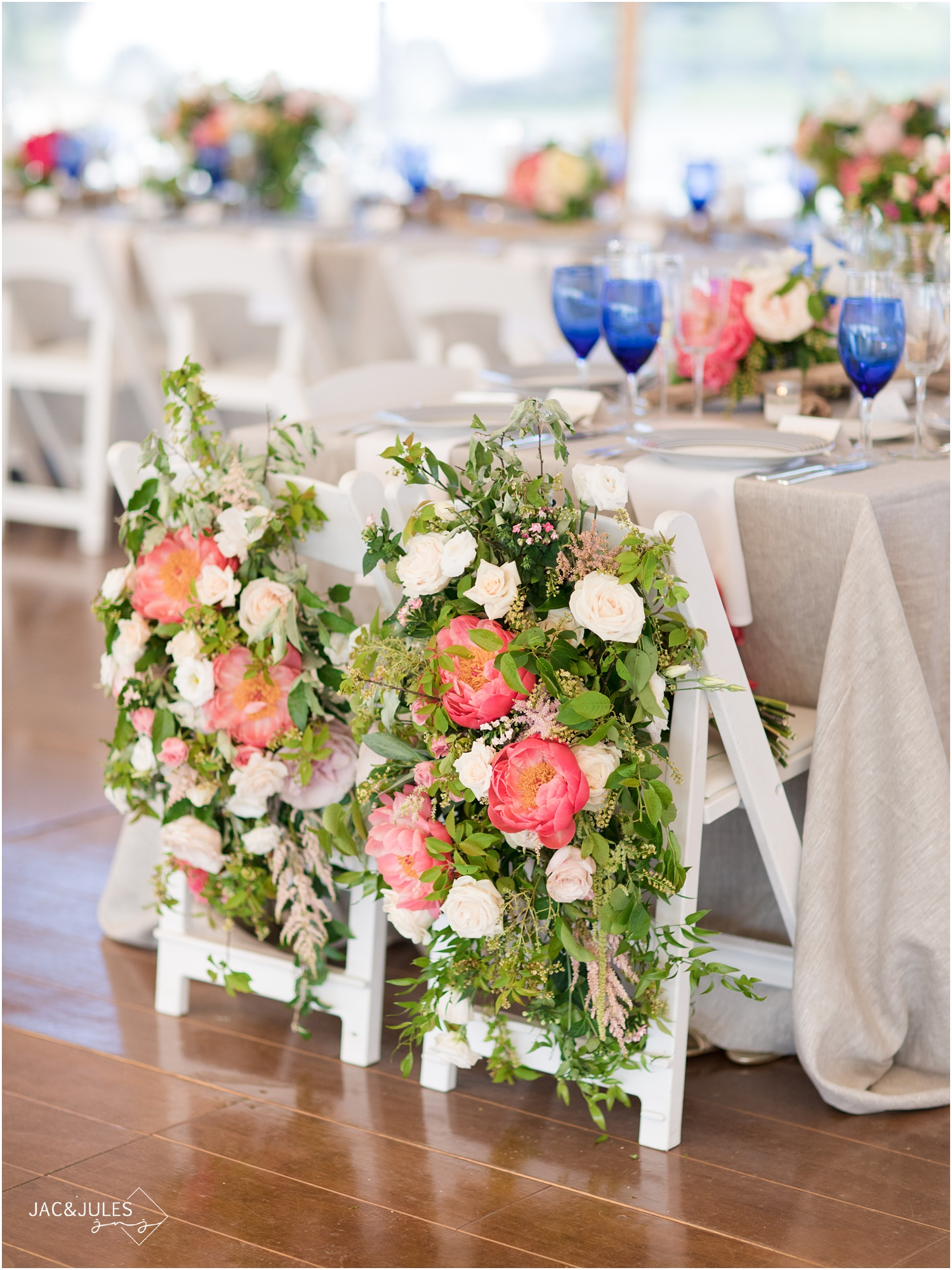 floral chair back decor by Faye and Renee in Mantoloking, NJ wedding.