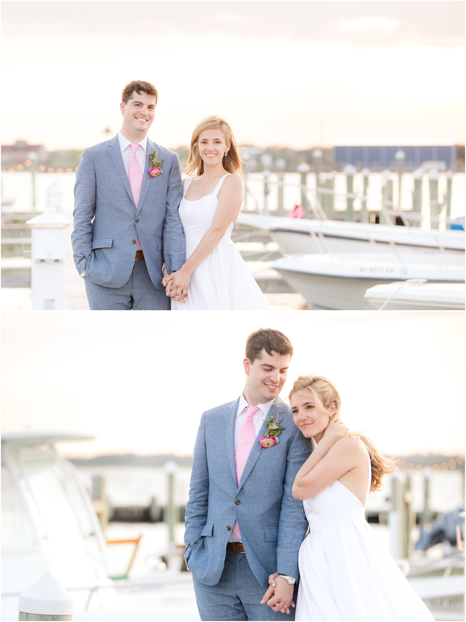 Just married portraits at sunset on the dock at Mantoloking Yacht Club