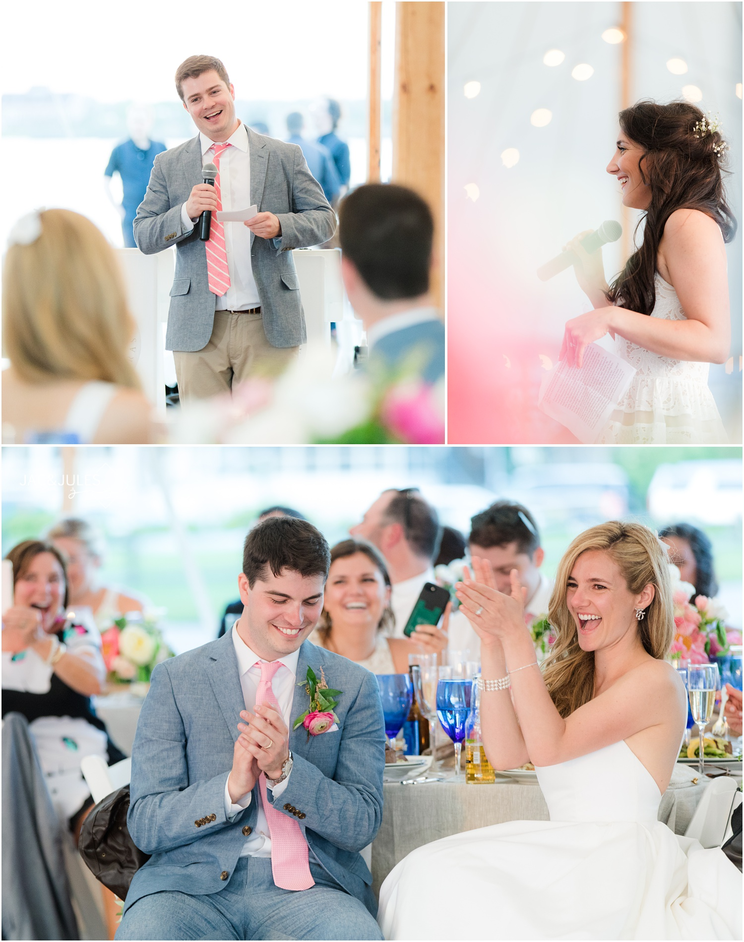Bride and groom share laughs during speeches at their Mantoloking, NJ wedding