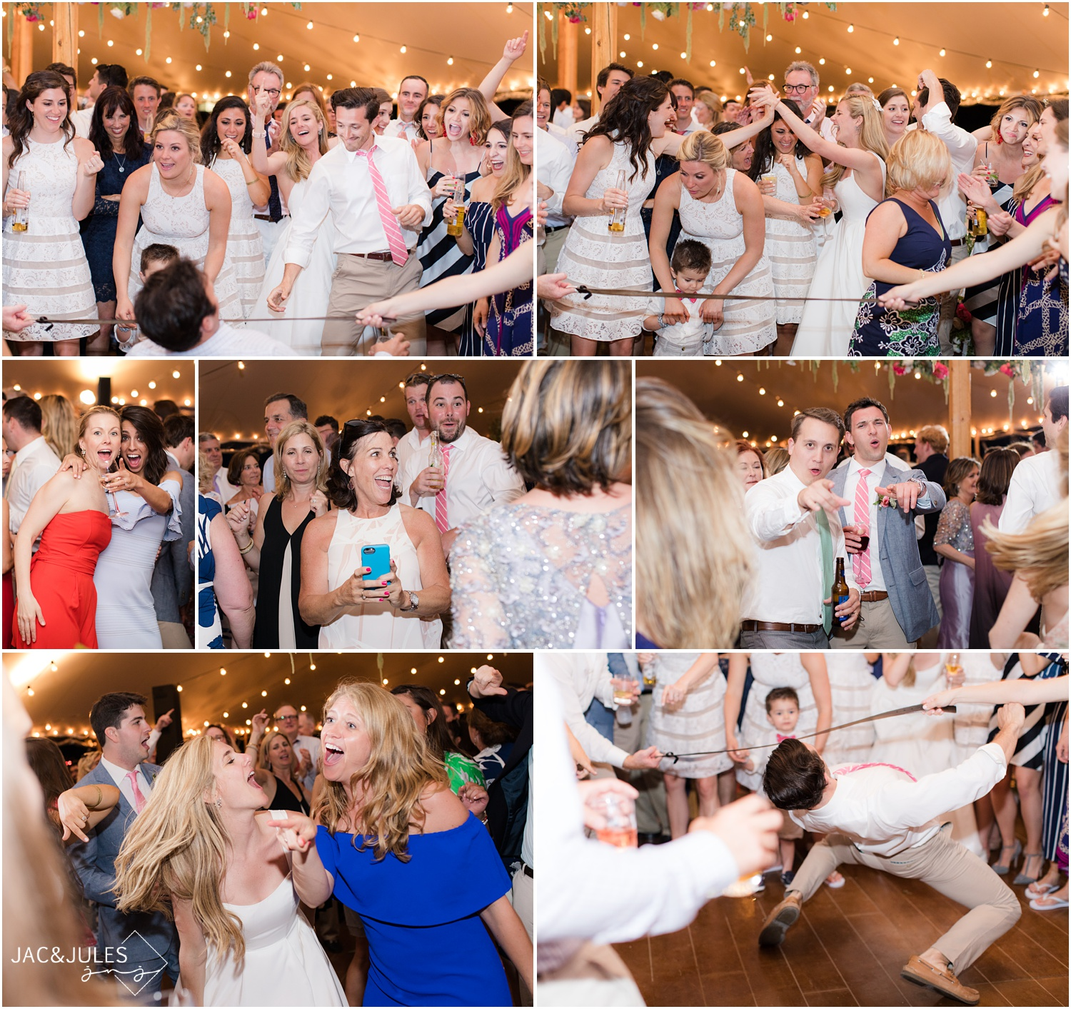 Wild wedding reception dancing to The Nocturnes band in Mantoloking, NJ.