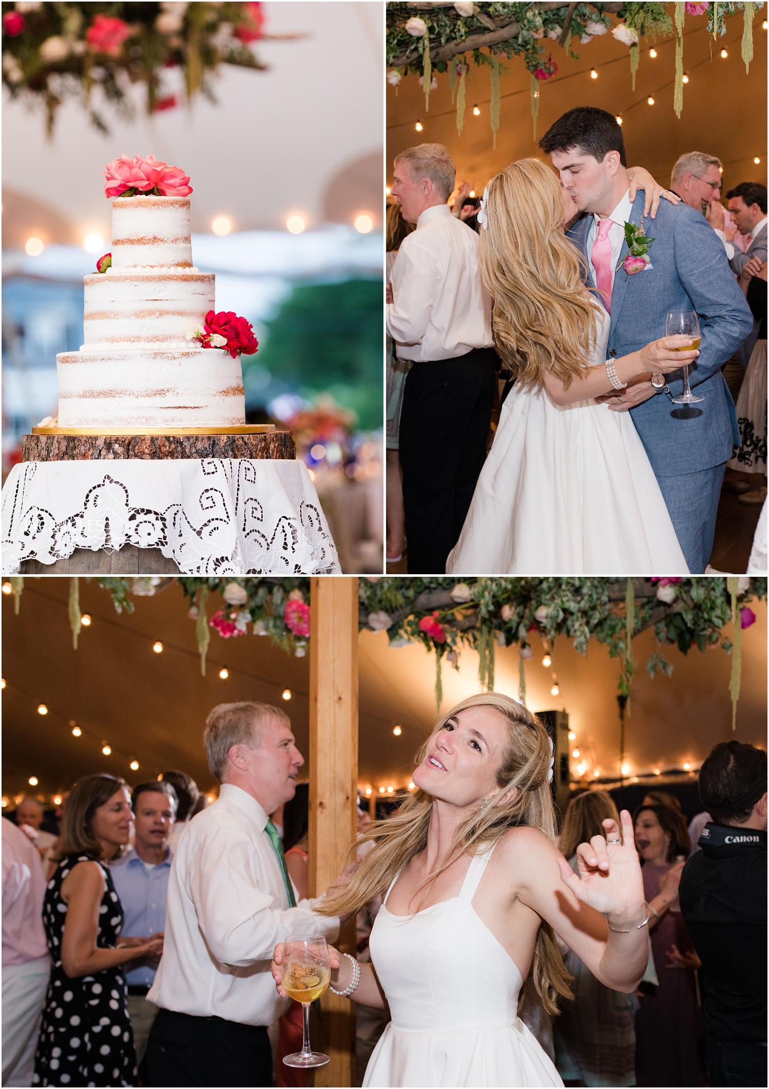 Beautiful naked wedding cake at Mantoloking Yacht Club.