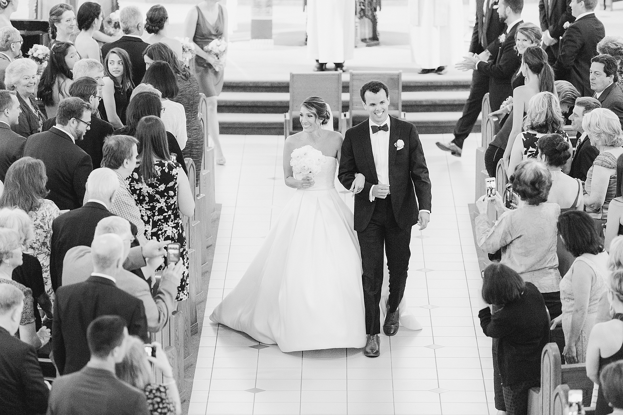Church ceremony exit as couple walks down the aisle as Mr. and Mrs. in New Jersey