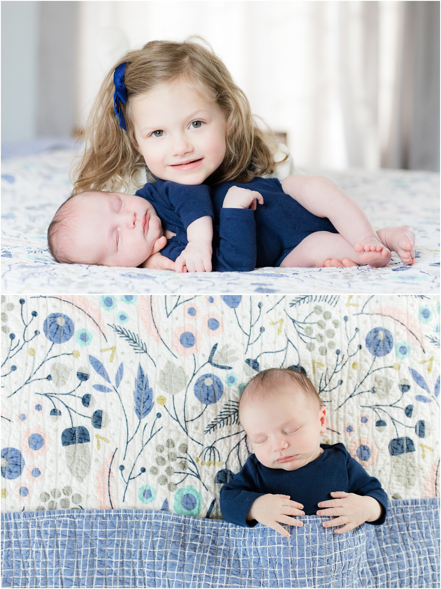 3 year old girl with newborn baby brother on the bed at home in Long Valley, NJ.