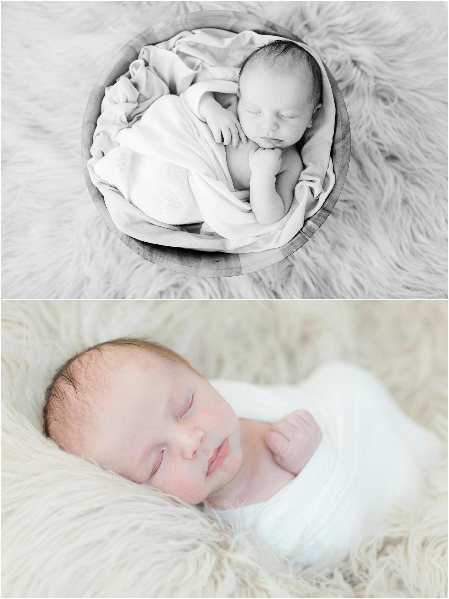 Simple natural newborn photos of baby boy.