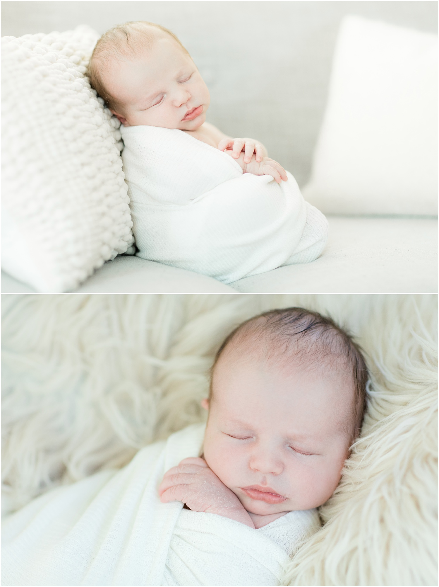 Simple and natural professional photos of newborn baby in New Jersey home.
