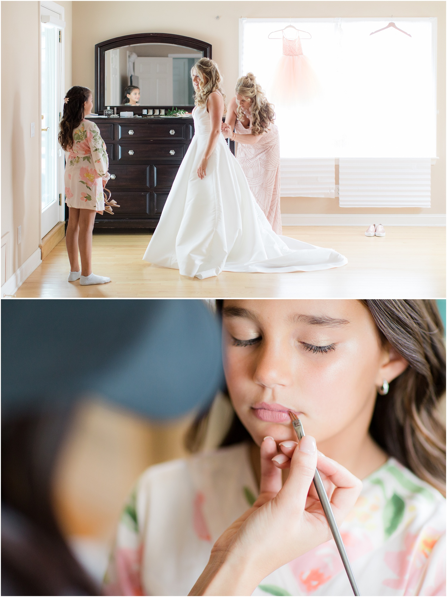 bride and flower girl getting ready at home in Spring Lake, NJ.