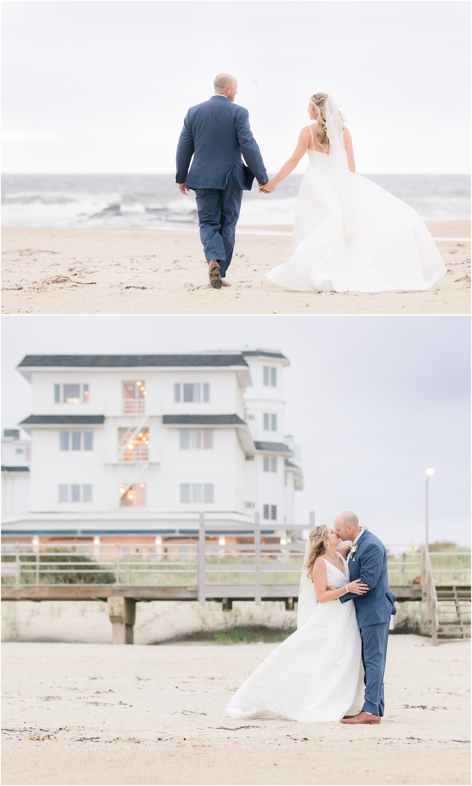 romantic wedding photos on the beach in Spring Lake, NJ.