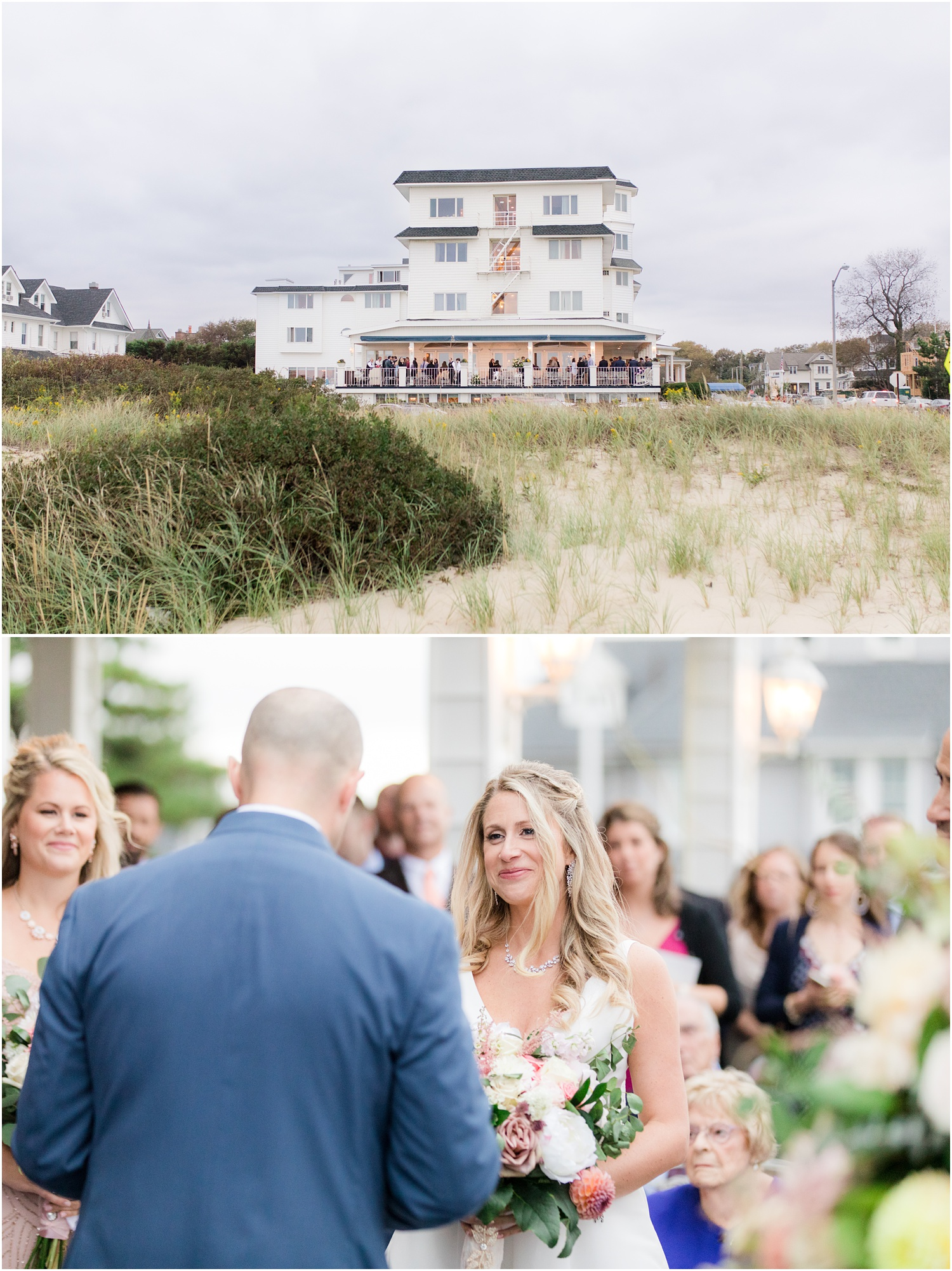 Photo of The Breakers Oceanfront Hotel and wedding ceremony on the porch in Spring Lake, NJ.
