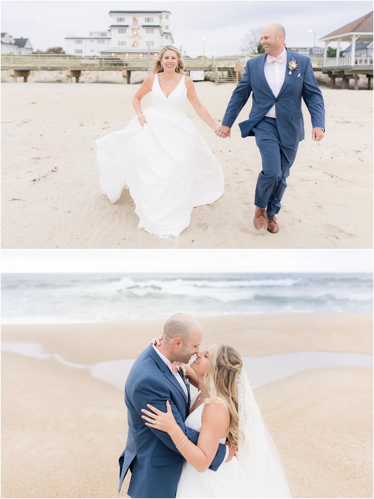 Fun wedding photos on the beach in Spring Lake, NJ.