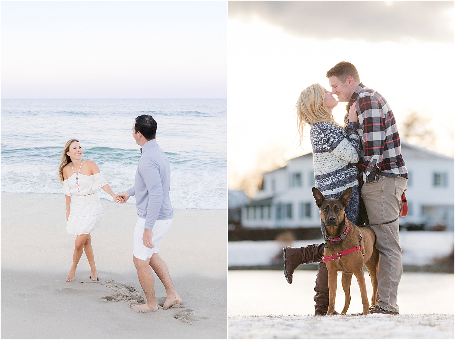 spring lake engagement photo in the summer and winter with a german shepard dog