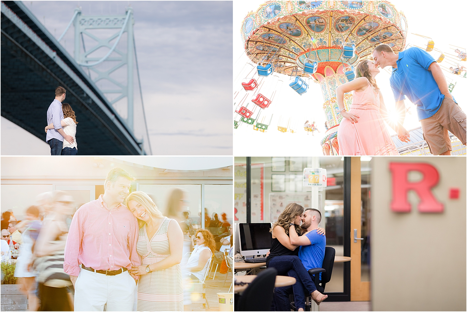 fun engagement photos on point pleasant boardwalk, asbury park nj, and rutgers university
