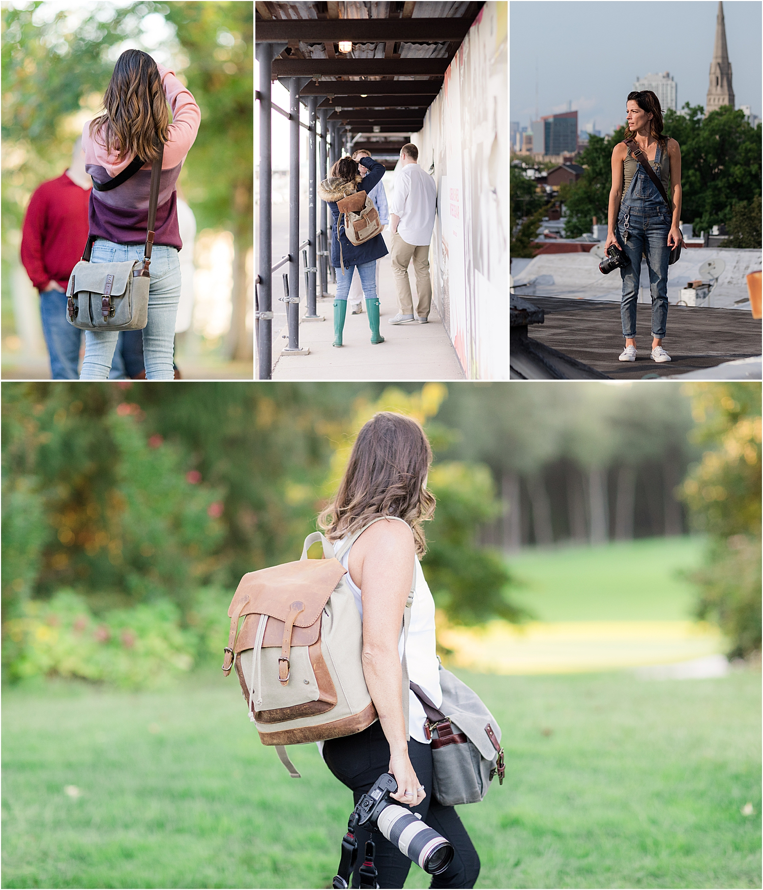 photos of photographers using the ONA prince street bag and Kelly Moore backpack