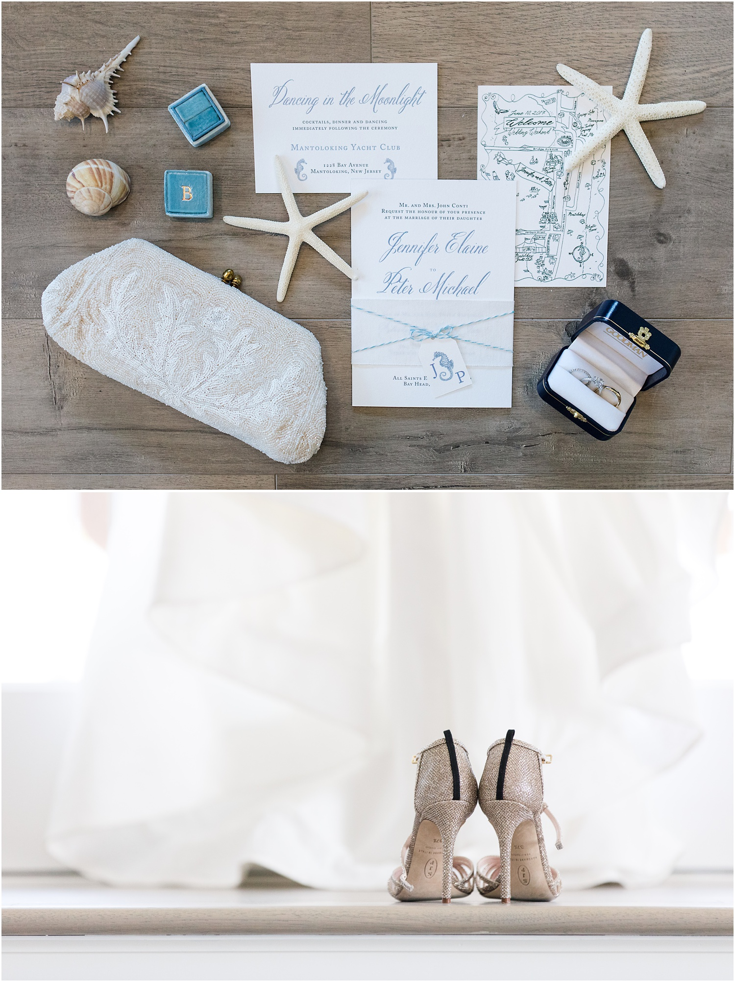 beach themed invitations and bridal accessories for seashore chic wedding in Mantoloking, NJ.