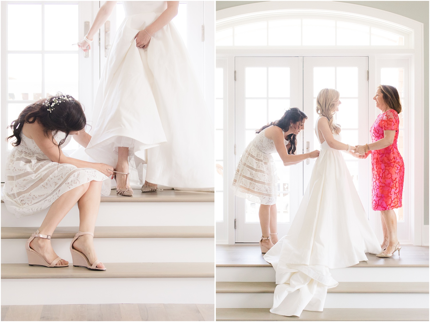 Mother and sister of the bride helping her into her bridal gown at home in Mantoloking, NJ.