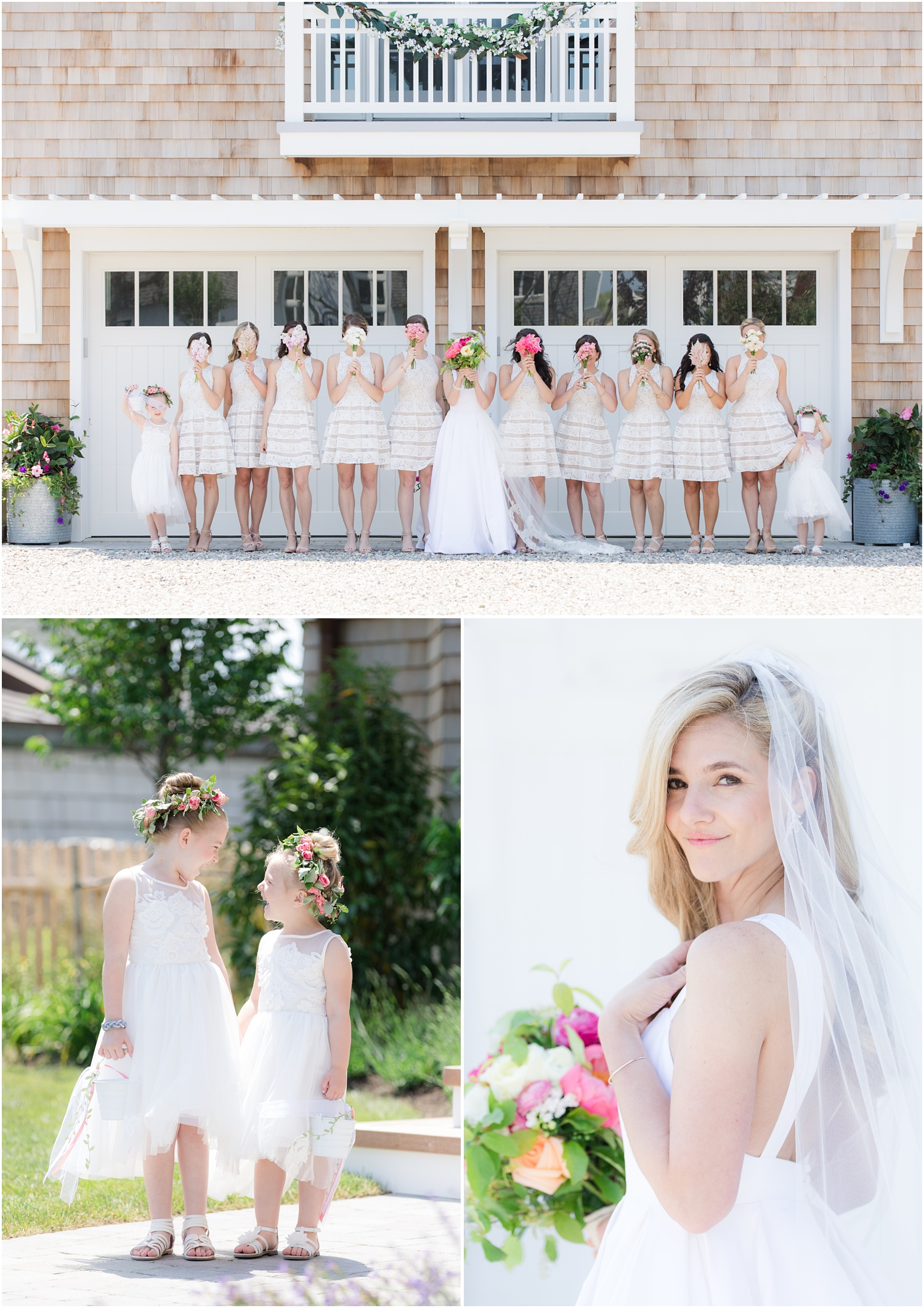 Fun photo of bridesmaids in unique dresses at the family beach house in Mantoloking, NJ.  Flowers by Faye and Renee