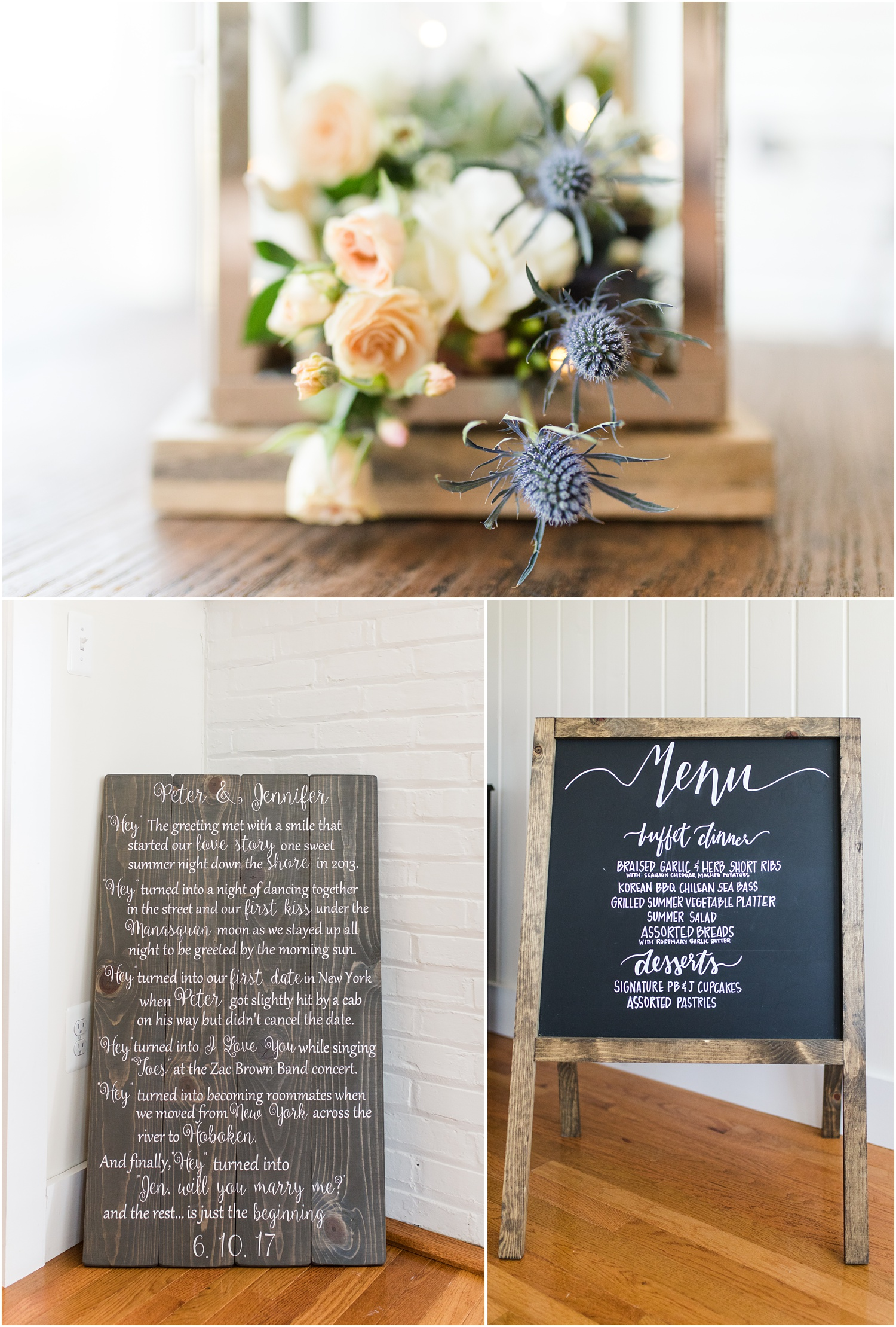 Lantern filled with thistle, wooden wedding decor with calligraphy  for beach wedding in Mantoloking, NJ.