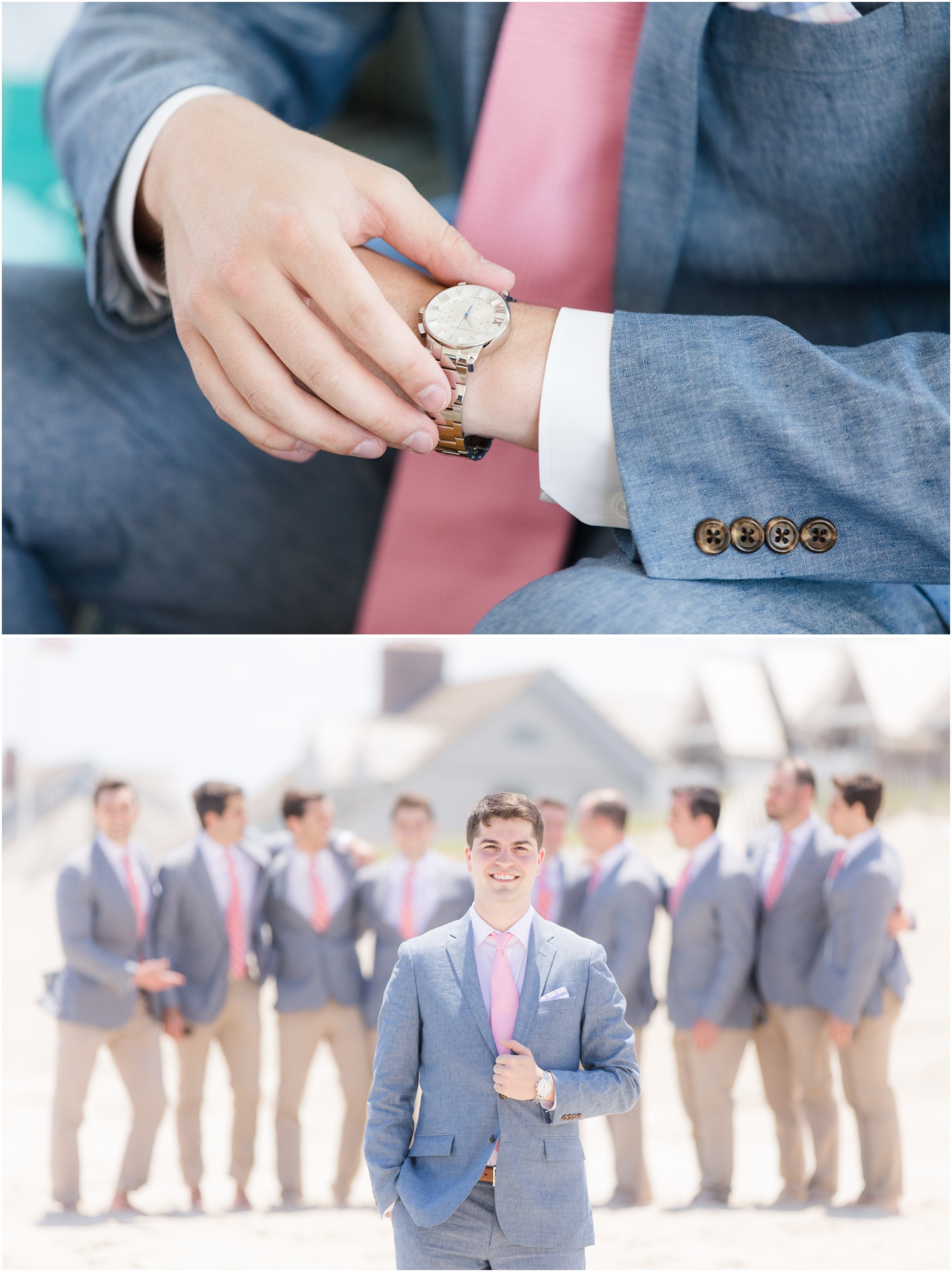 Groom's Tiffany watch with chambray suit and pink accents for Nautical wedding in Mantoloking, NJ.