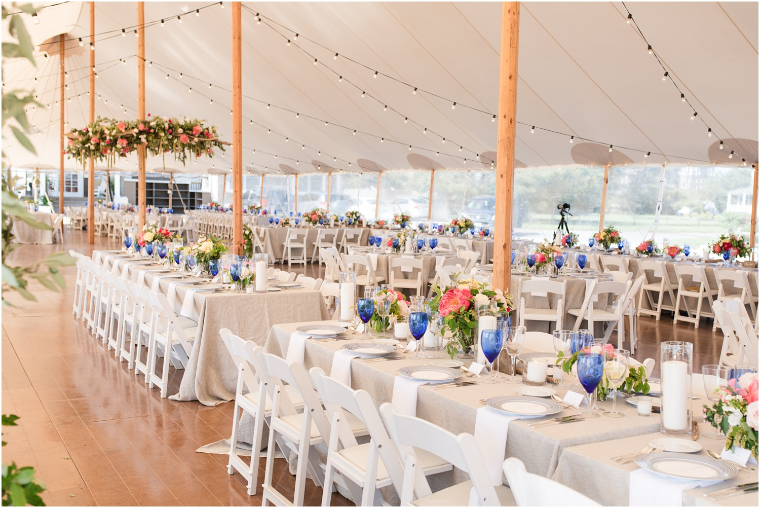 Photo of tent set up by Faye and Renee at Mantoloking Yacht Club.