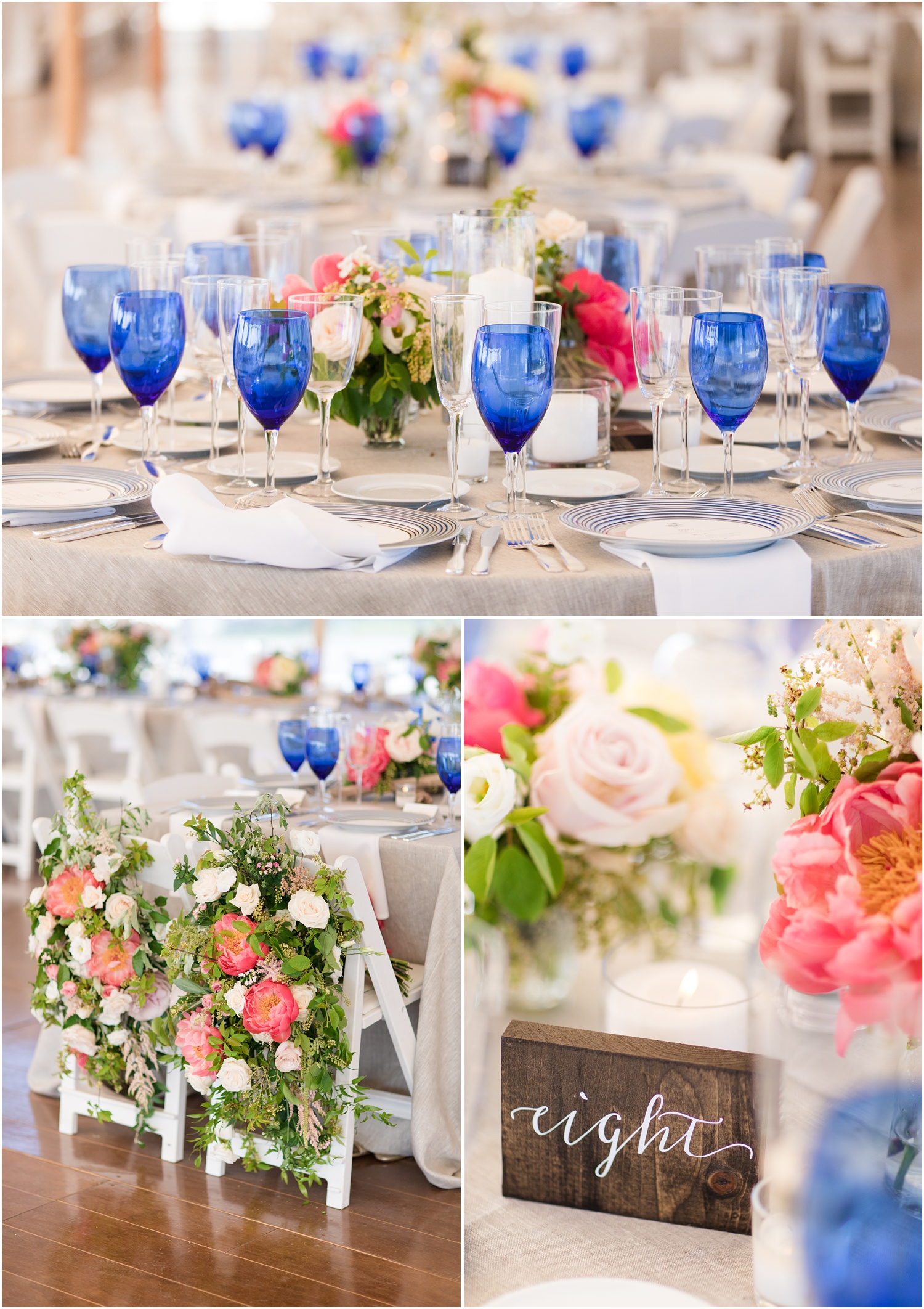 Photos of tented reception decor with blue glassware by Faye and Renee at Mantoloking Yacht Club.