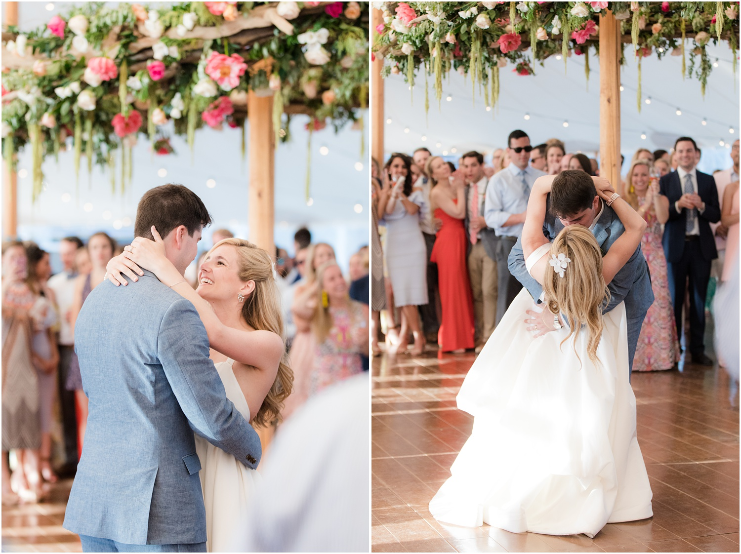 Gorgeous floral and driftwood chandelier by Faye and Renee for Mantoloking Yacht Club Wedding