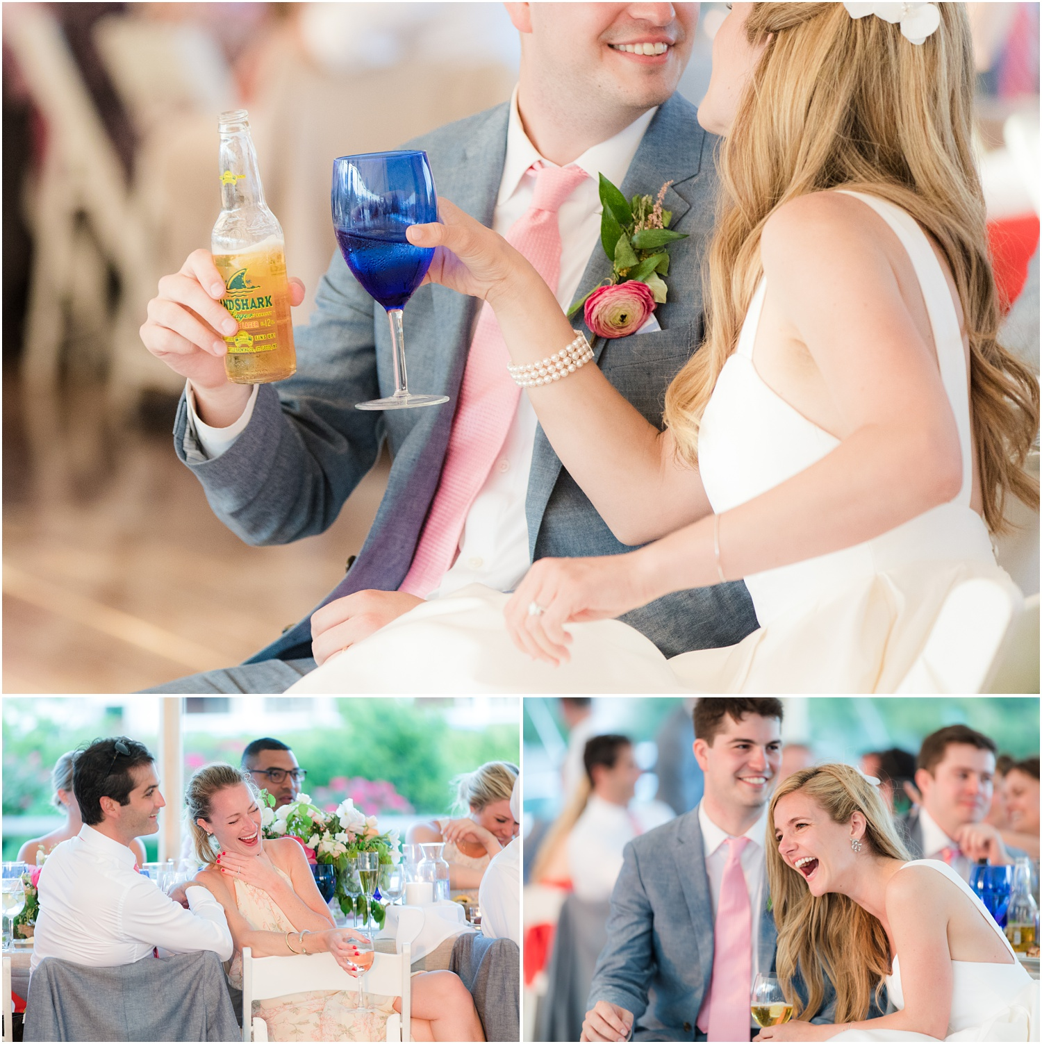 Laughter during speeches at Mantoloking wedding reception.