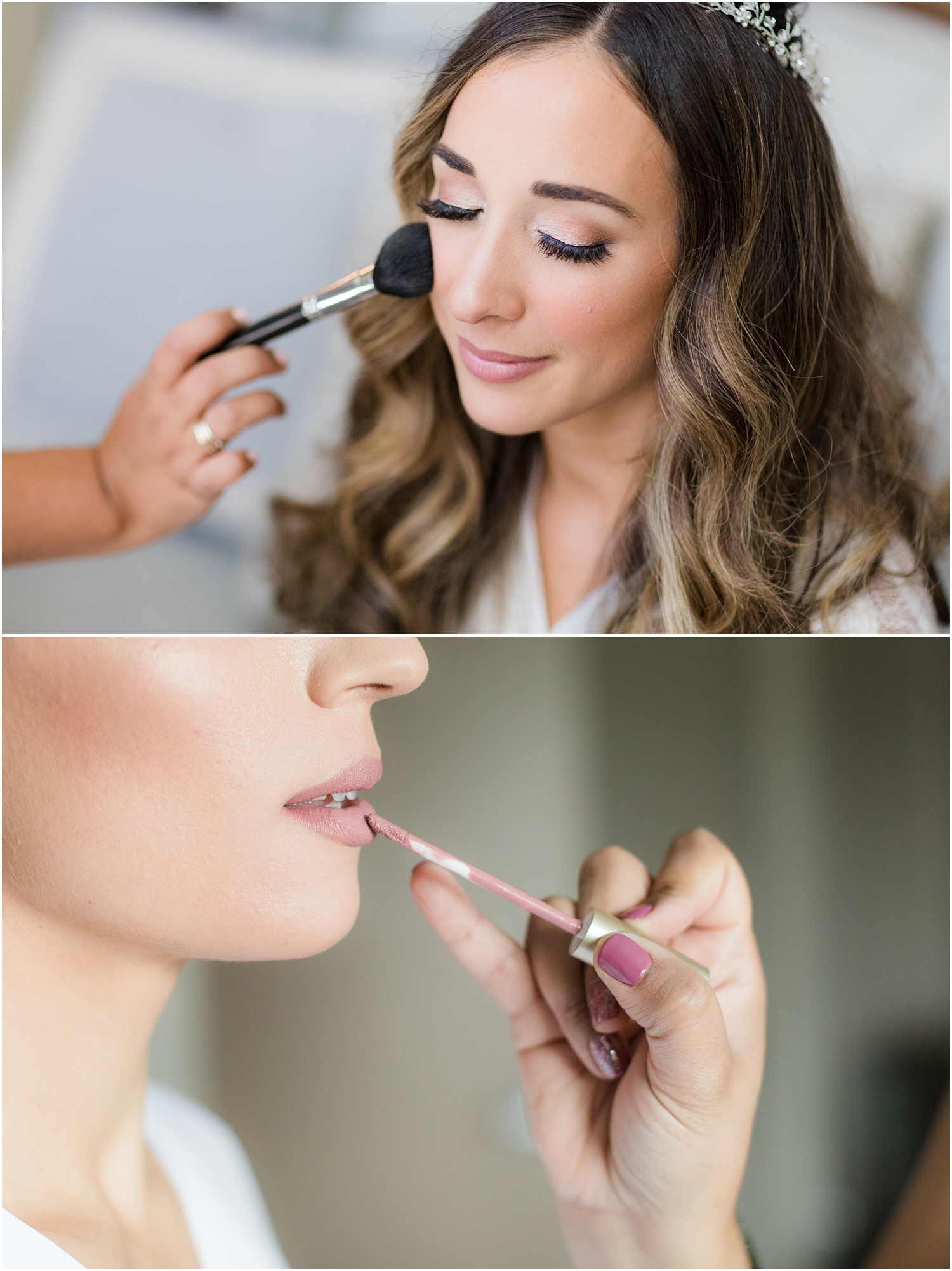 Brides getting wedding day make up from make me up eva