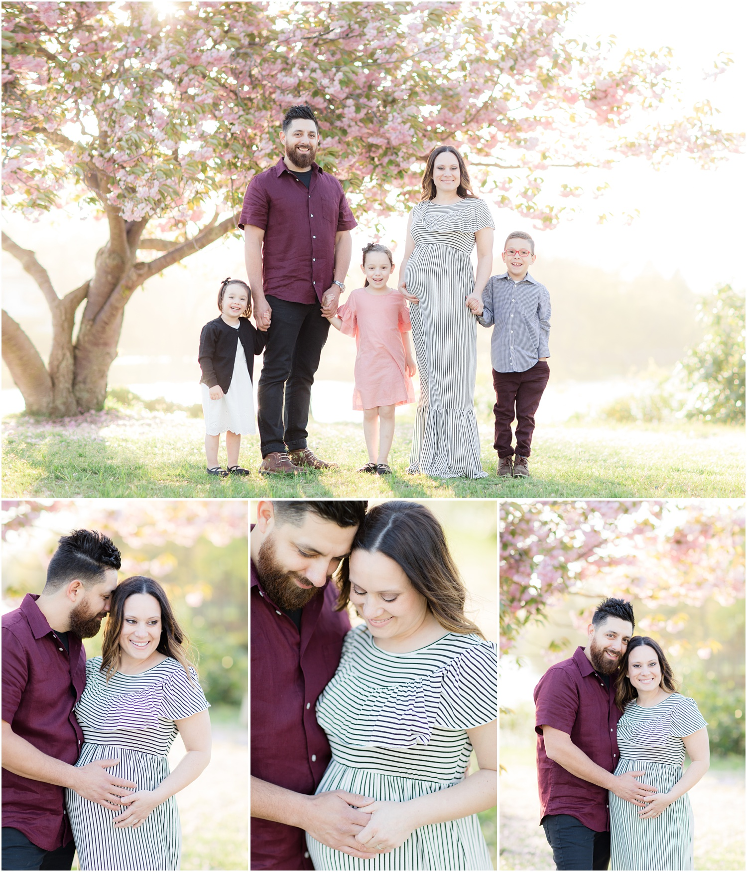 Pregnant mom and family photo with cherry blossoms at Divine Park in Spring Lake.