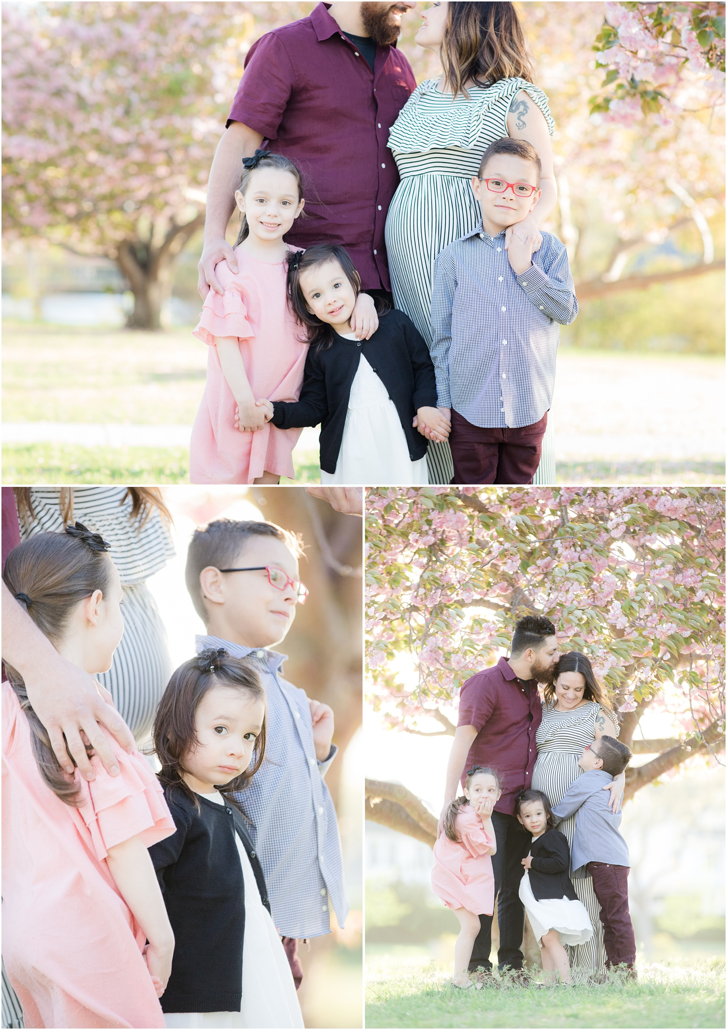 3 kids posing with pregnant mom with cherry blossoms at Divine Park in Spring Lake.