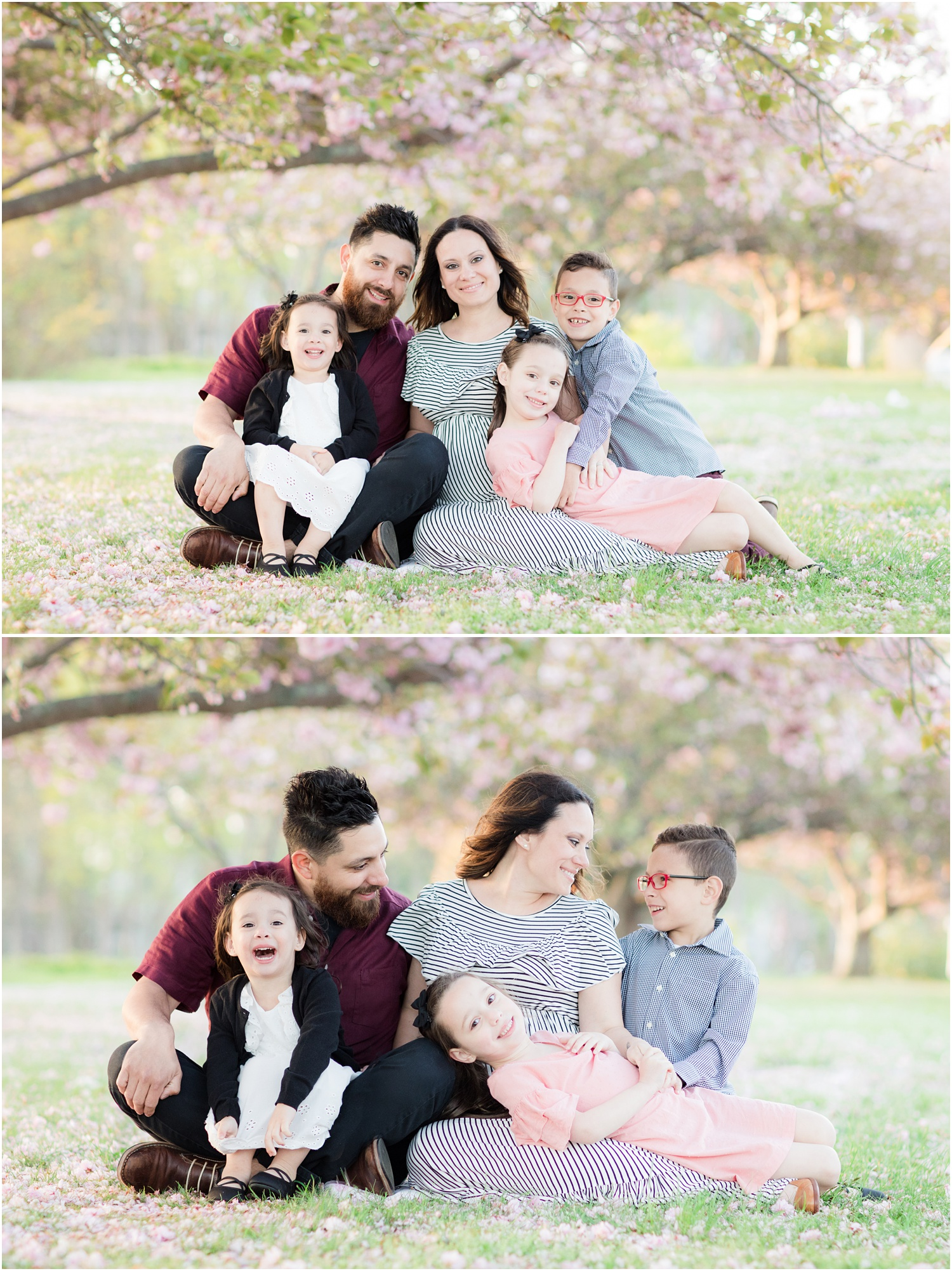cozy family photo with cherry blossoms at Divine Park in Spring Lake.