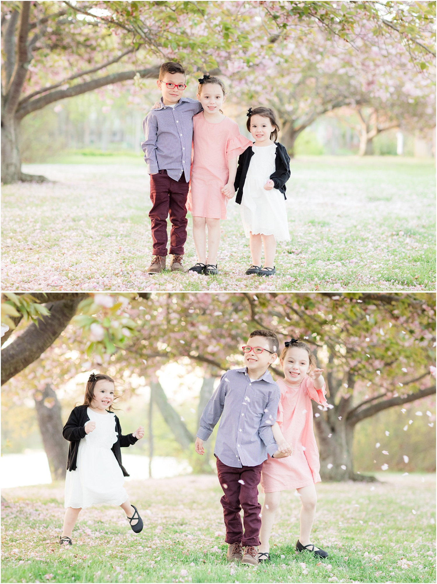 kids having fun with cherry blossoms at Divine Park in Spring Lake.