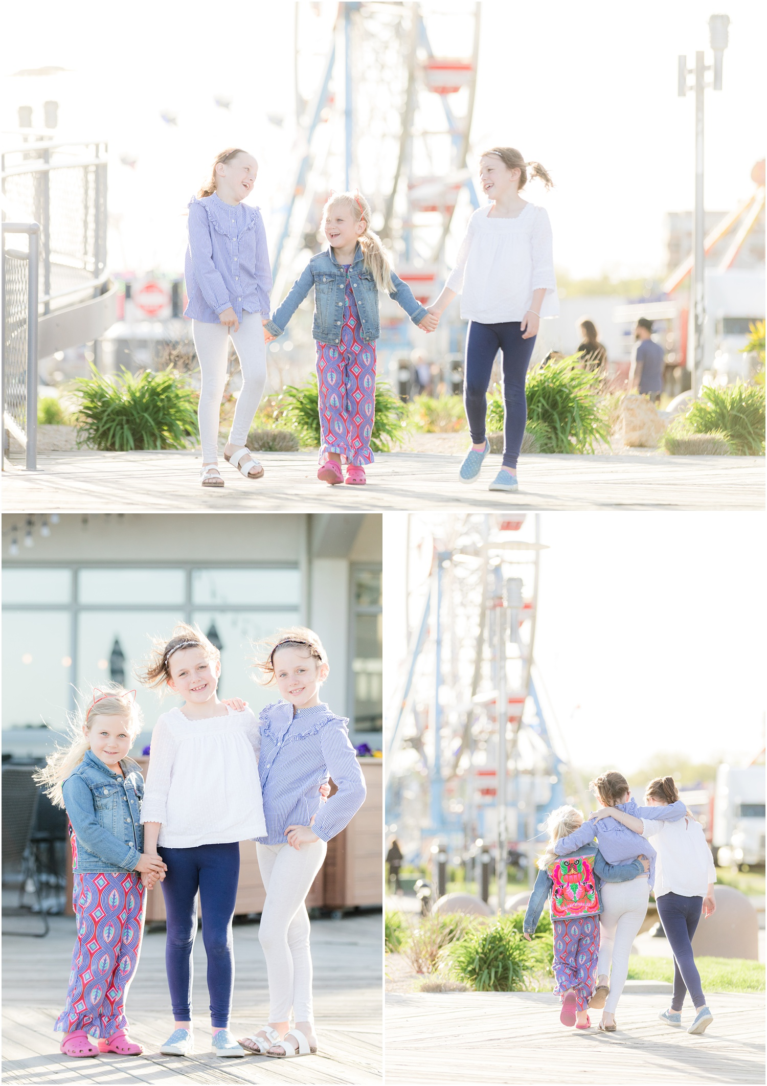 3 sisters having fun at the fair ferris wheel in Asbury Park