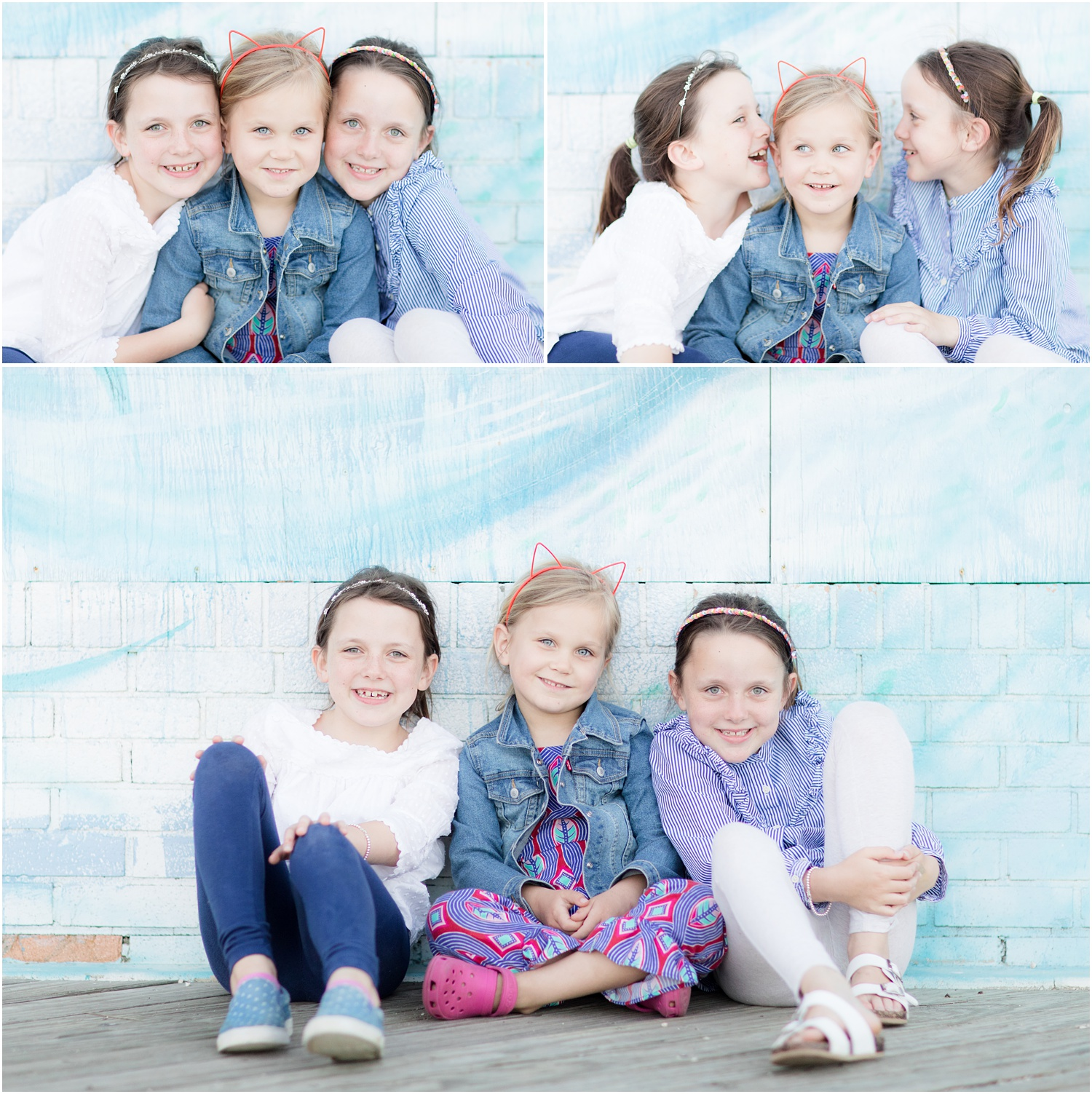 close up photos of 3 girls on the boardwalk in Asbury Park.