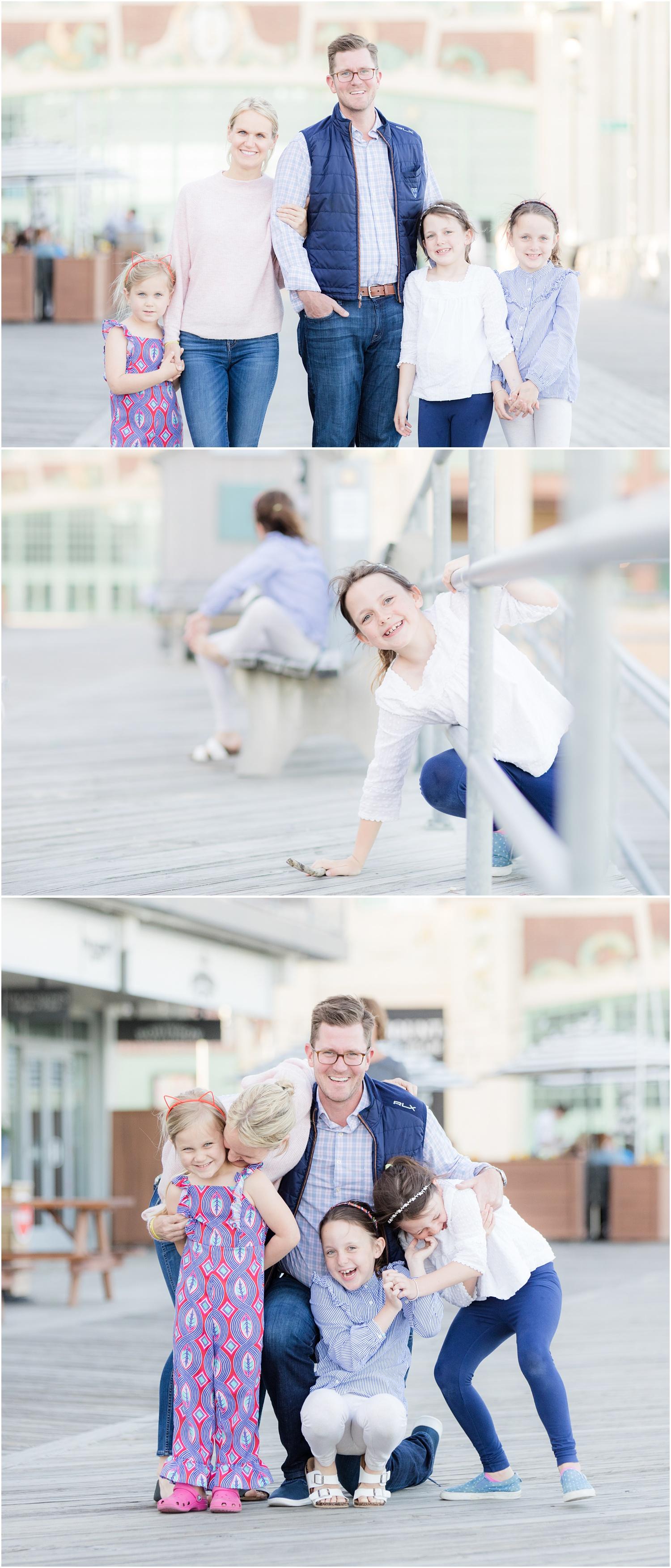 fun casual family photos on the boardwalk in Asbury Park.