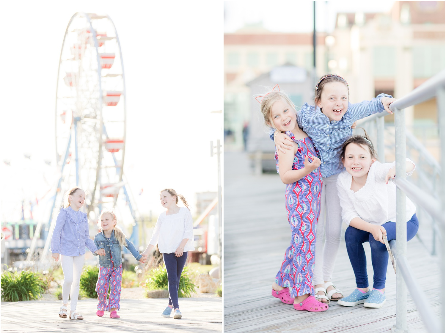 fun colorful photos of 3 sisters on the boardwalk in Asbury Park.