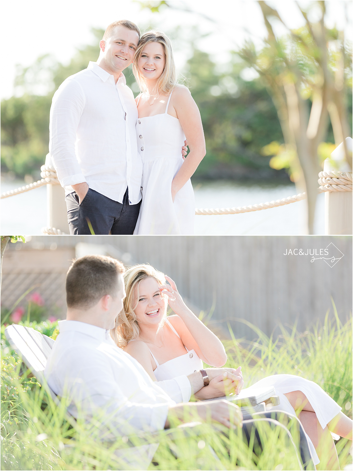 engagement photos at charlie's of bay head nj