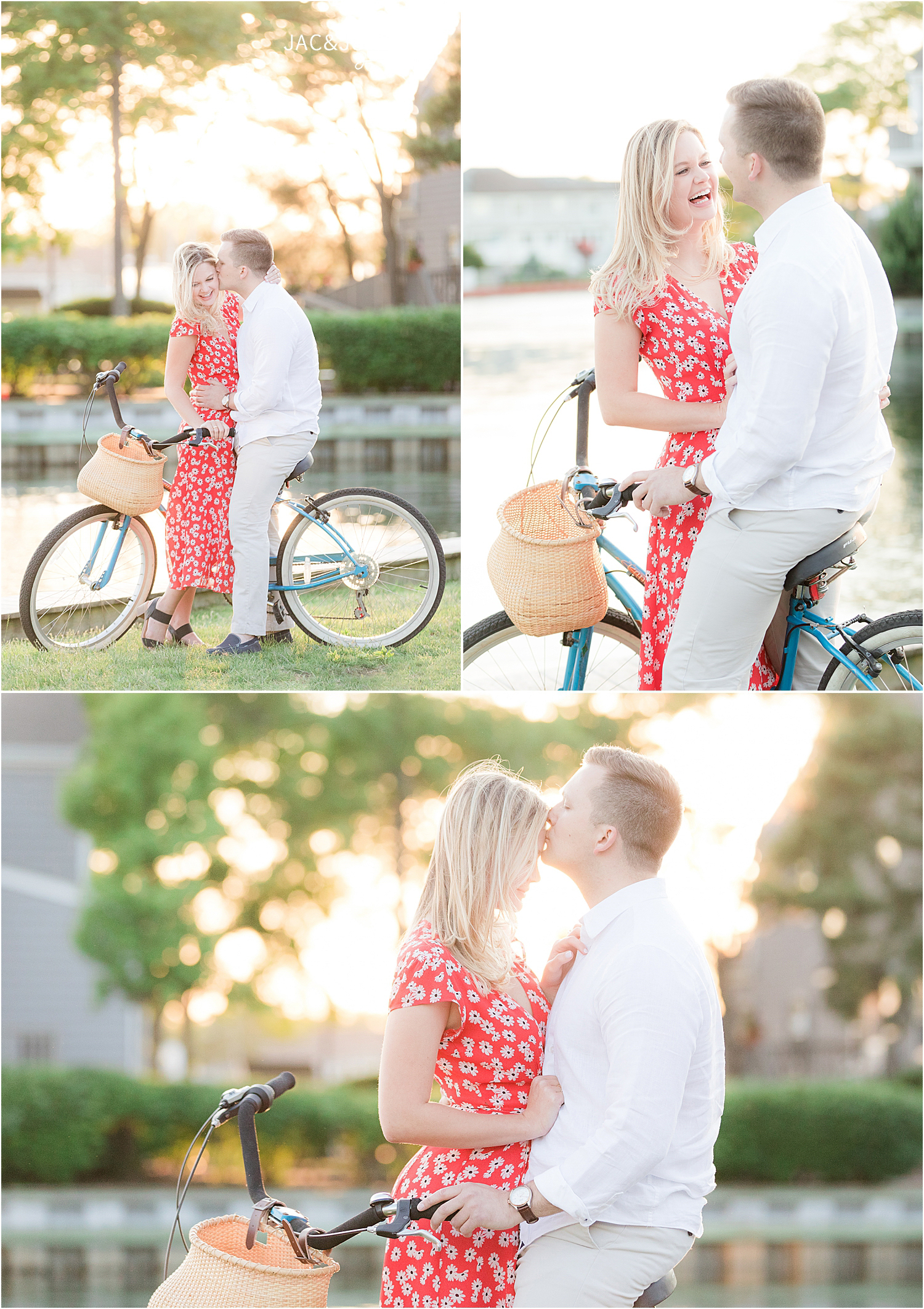 romantic engagement photos at sunset with a bike in bay head nj