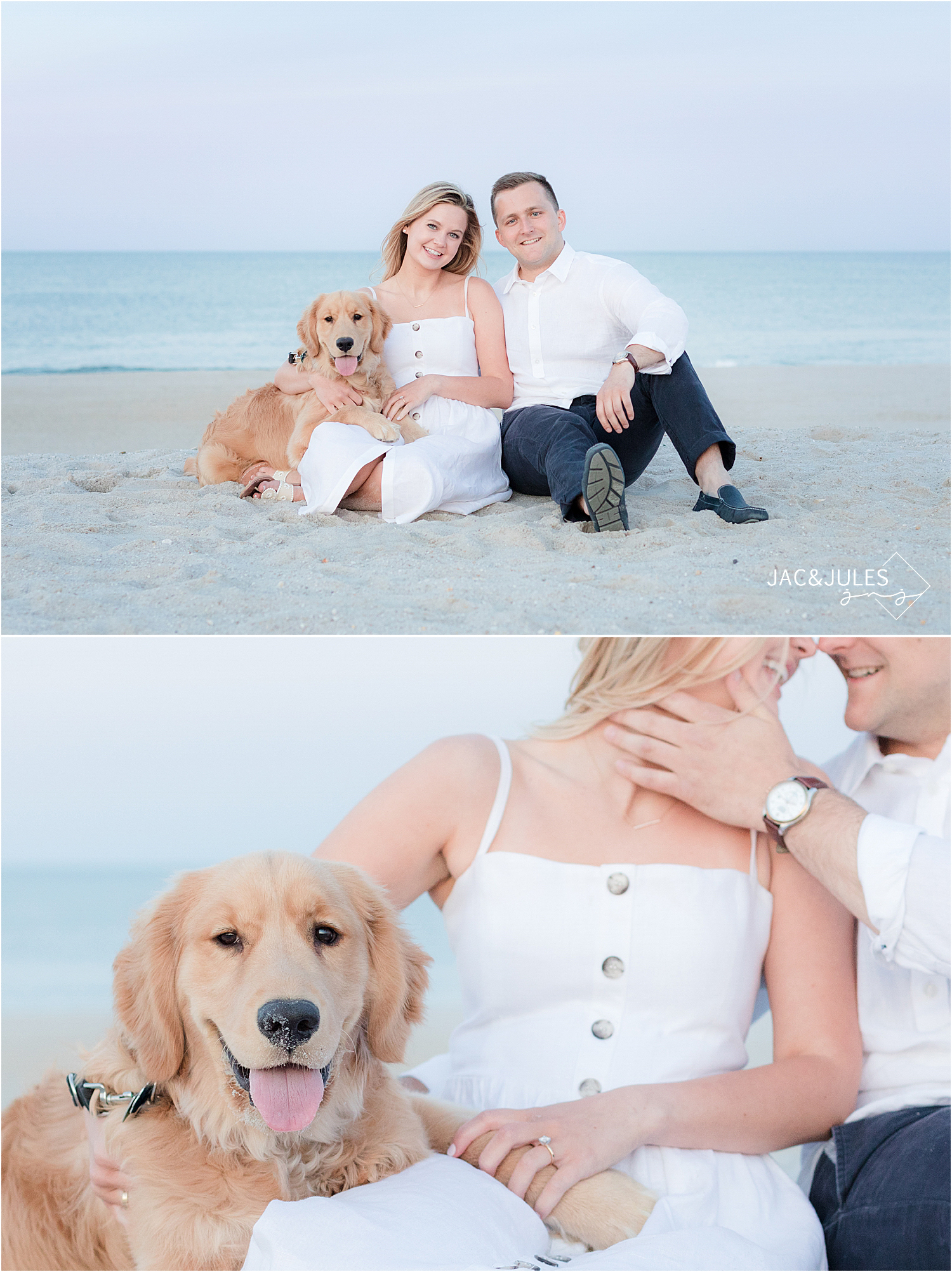 romantic engagement photos with dog in bay head nj at the beach