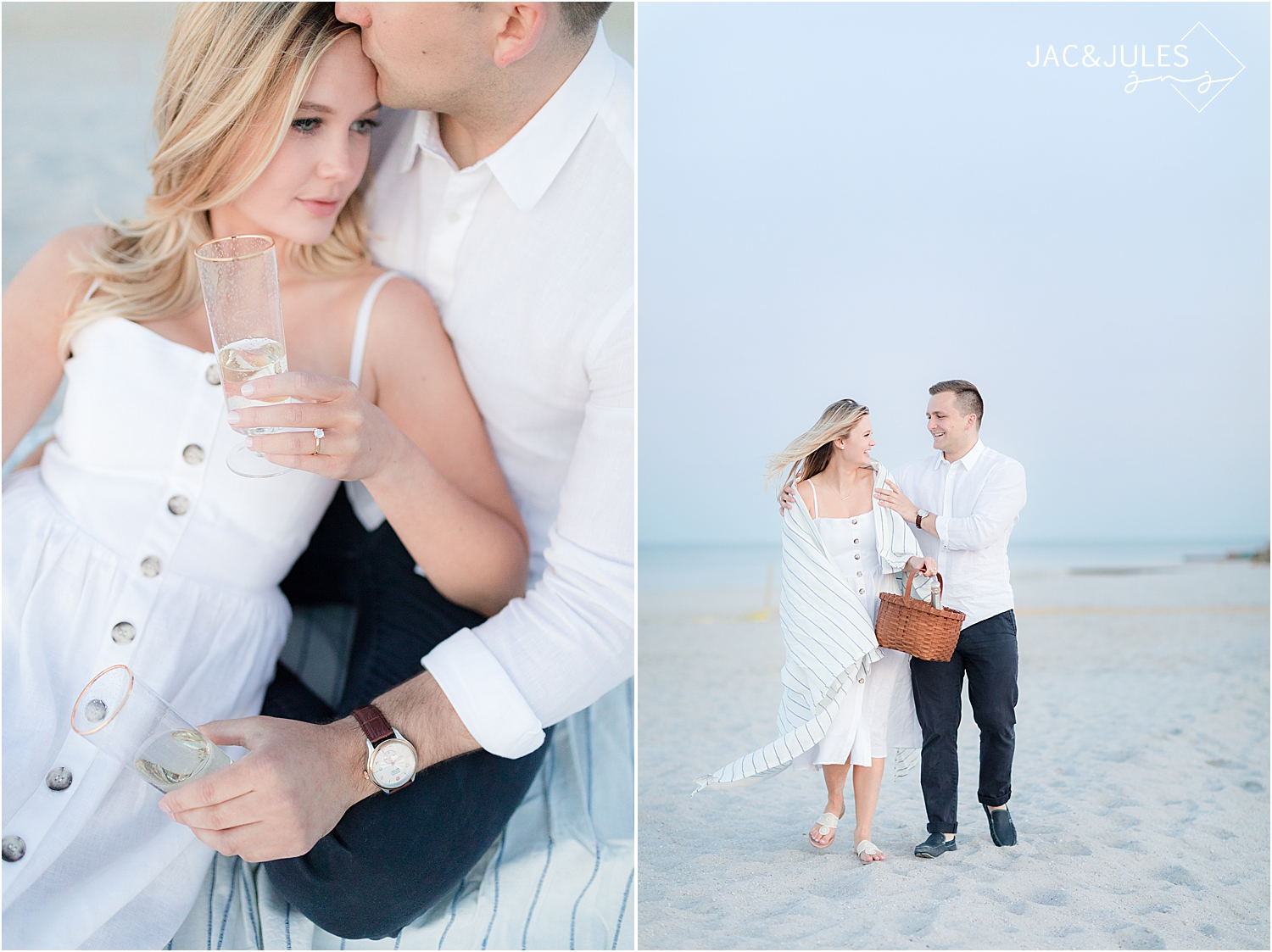 picnic style engagement photo on the beach in bay head nj