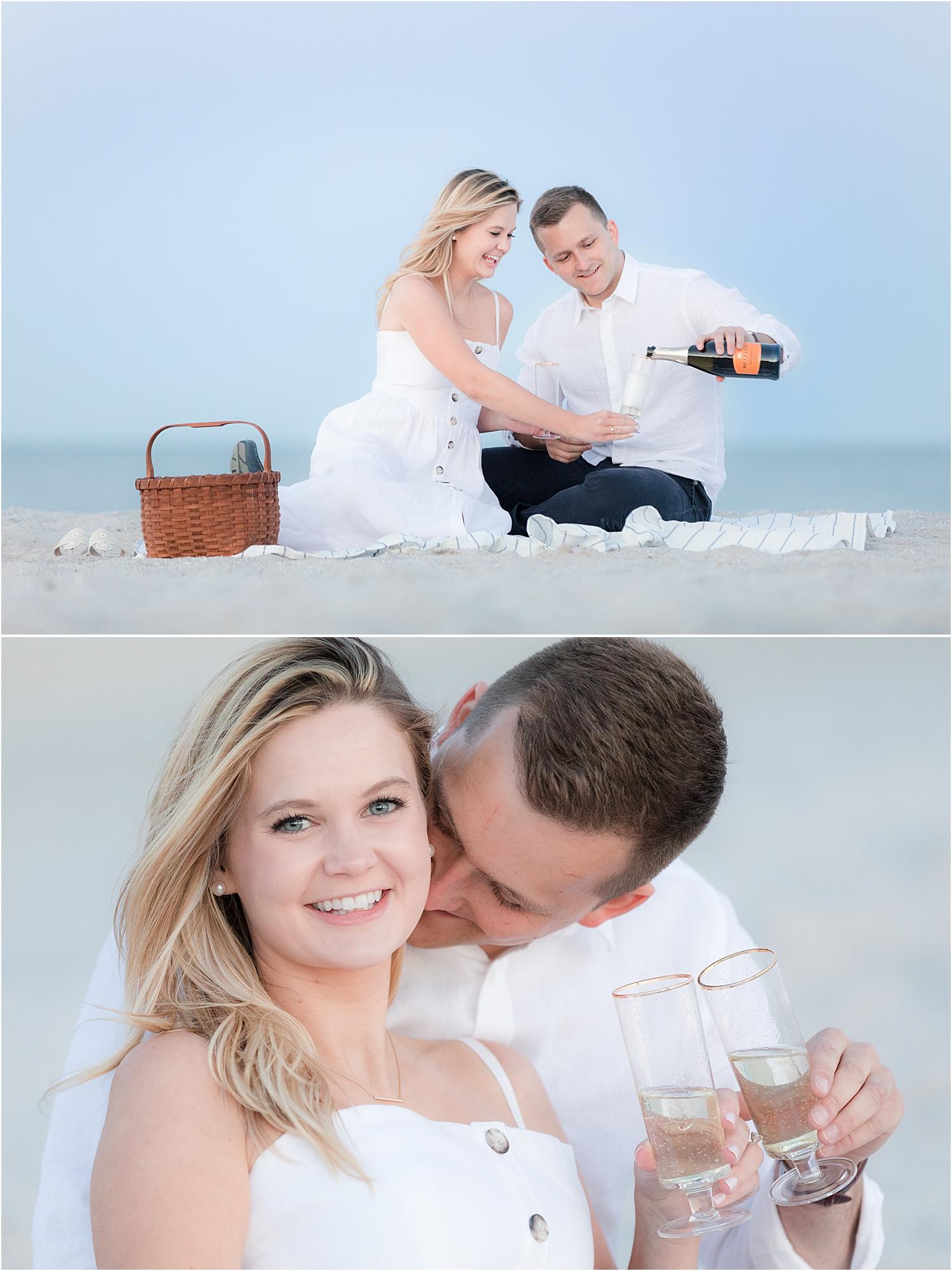beach engagement photo on the beach in bay head nj