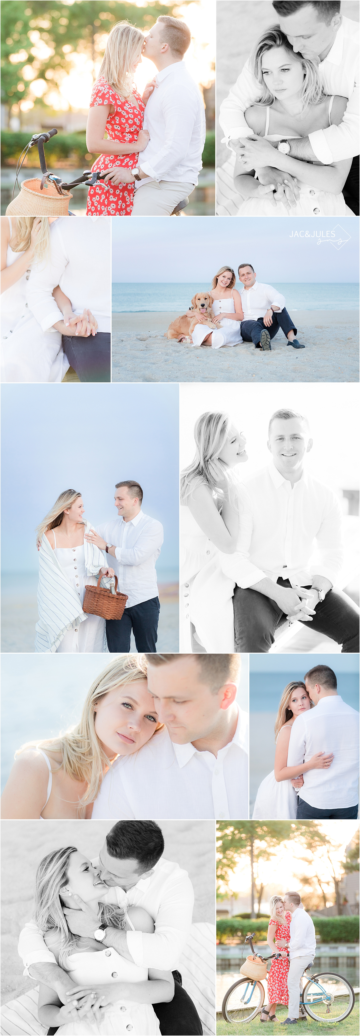 romantic engagement photos in bay head new jersey with a dog and bike on the beach
