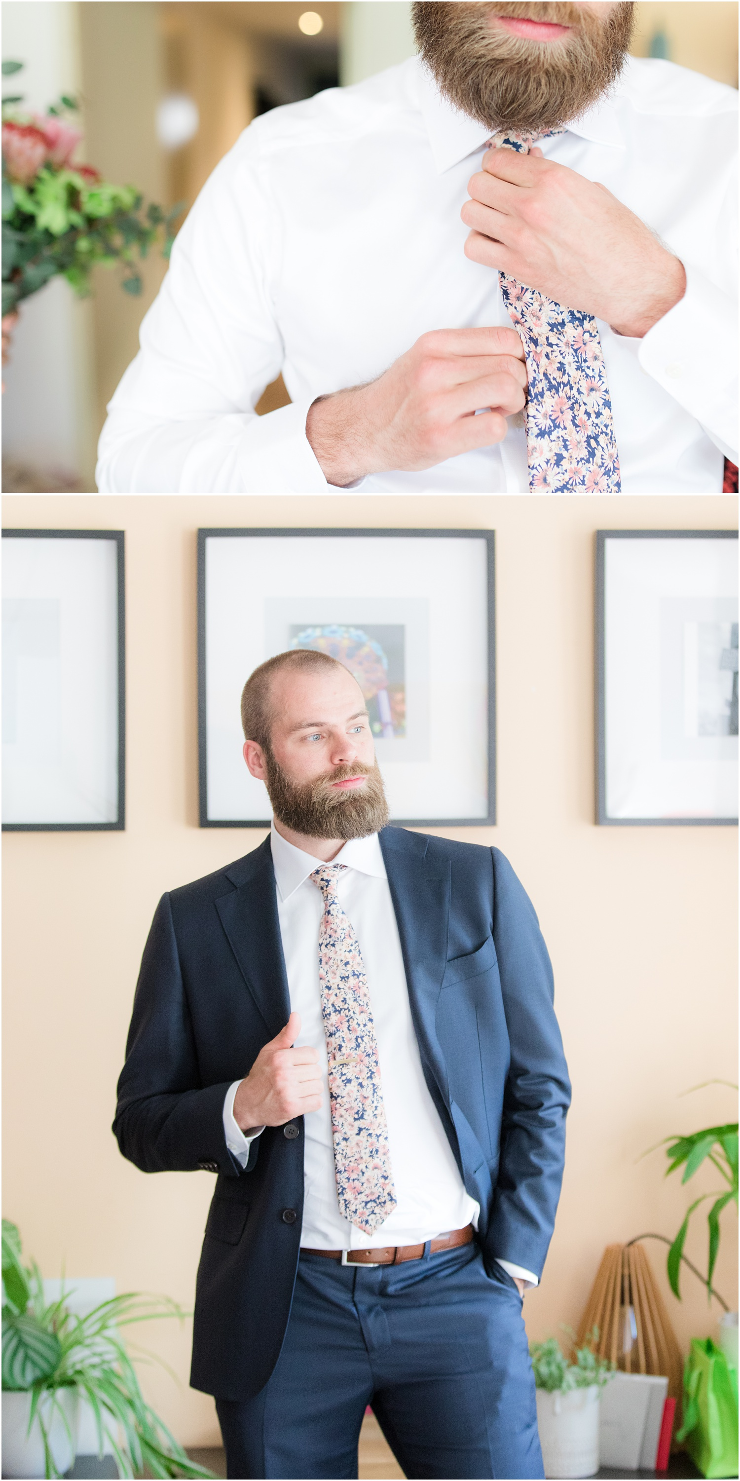 groom adjusting tie and groom portrait