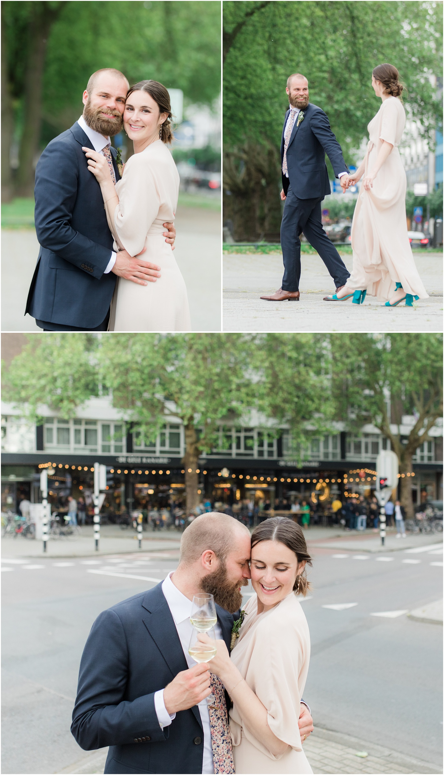 Romantic Wedding photos on the streets of Rotterdam