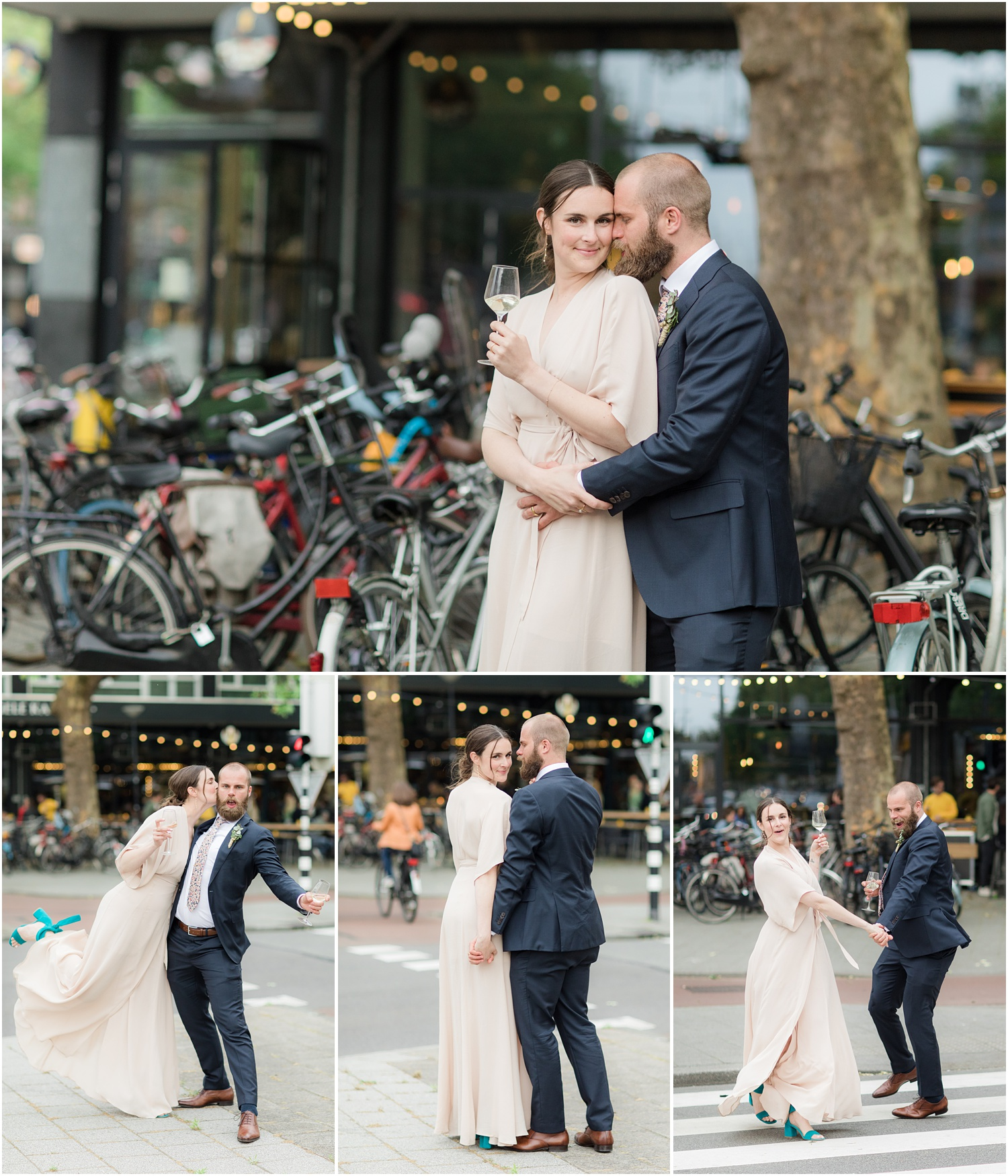 Fun Wedding photos on the streets of Rotterdam