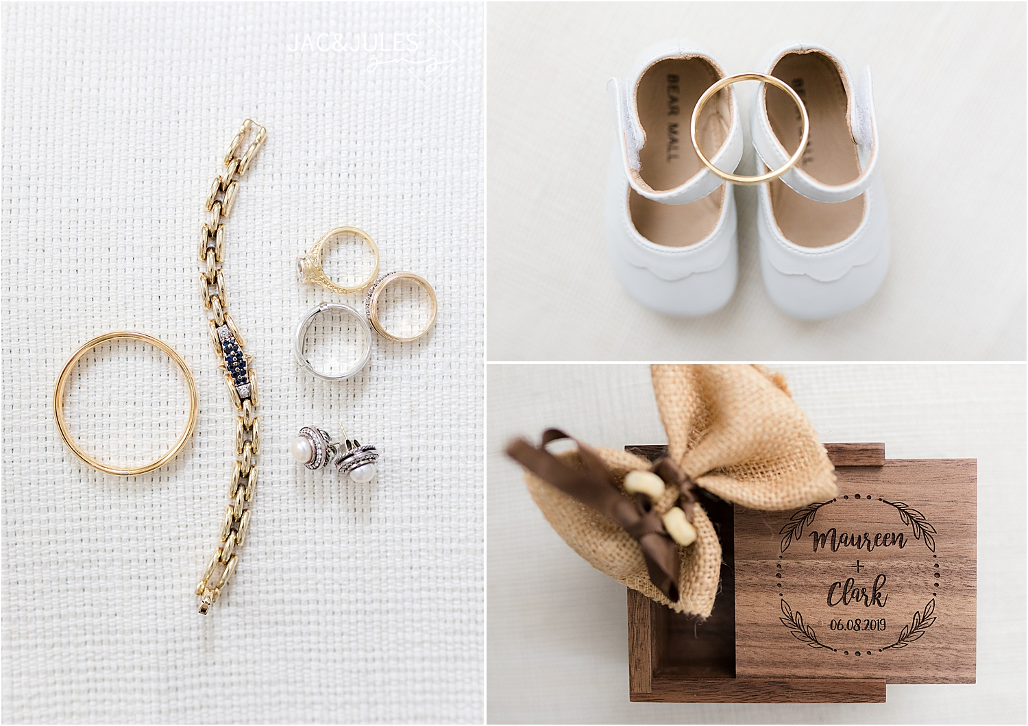 bridal jewelry and flower girl and ring bearer details